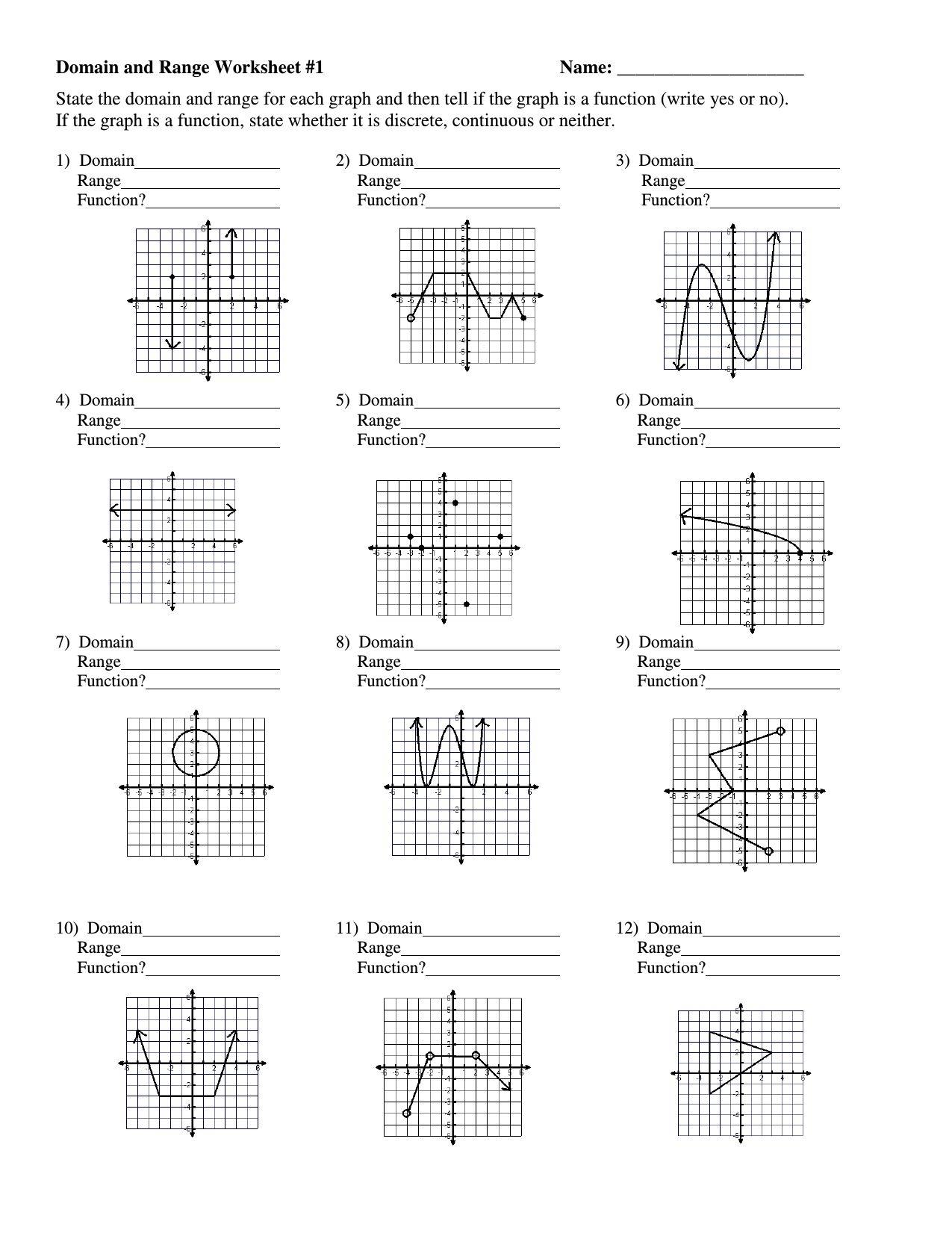 Graphing Rational Functions Worksheet 1 Horizontal