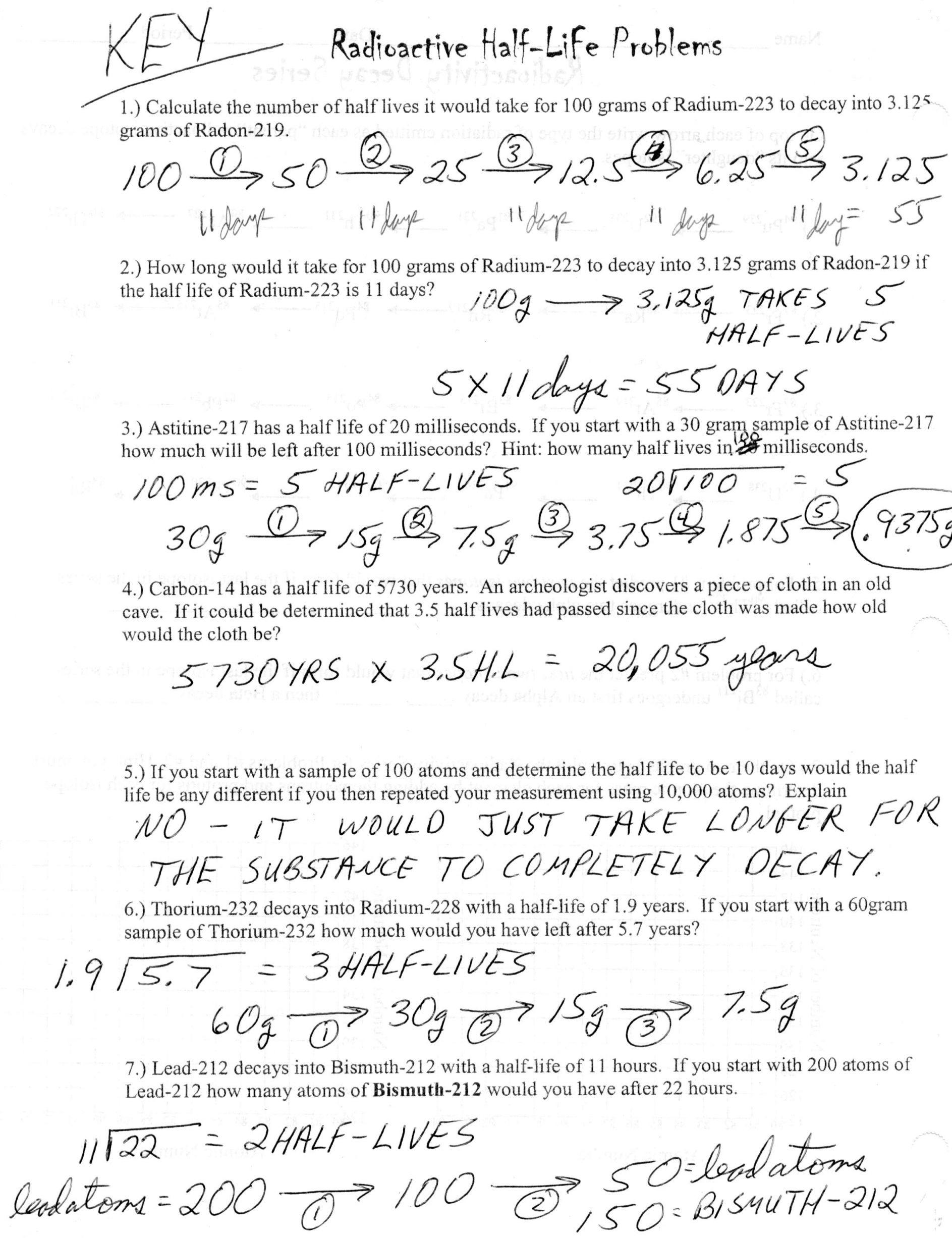 Half Life Worksheets Answer Key