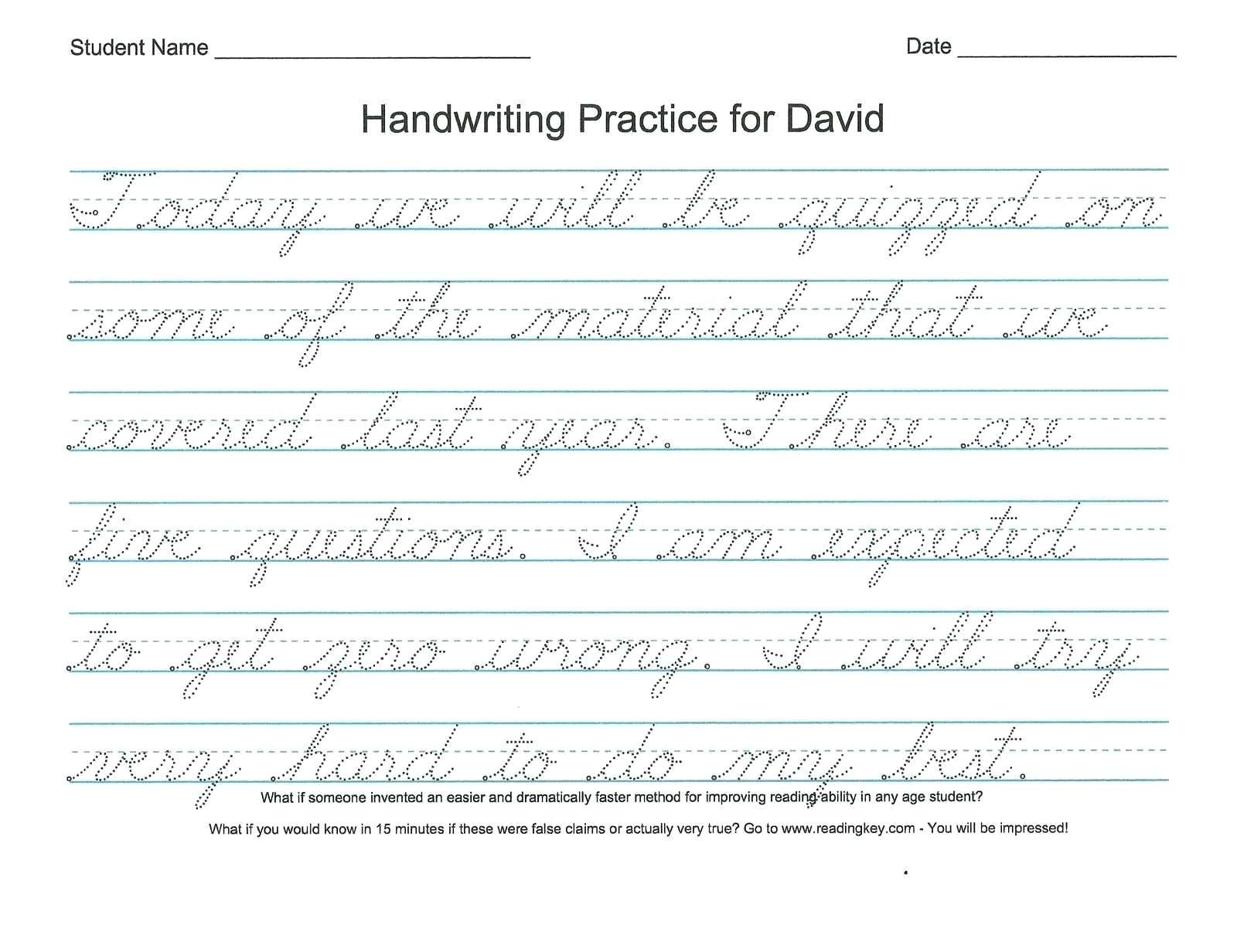 Handwriting Worksheets Name