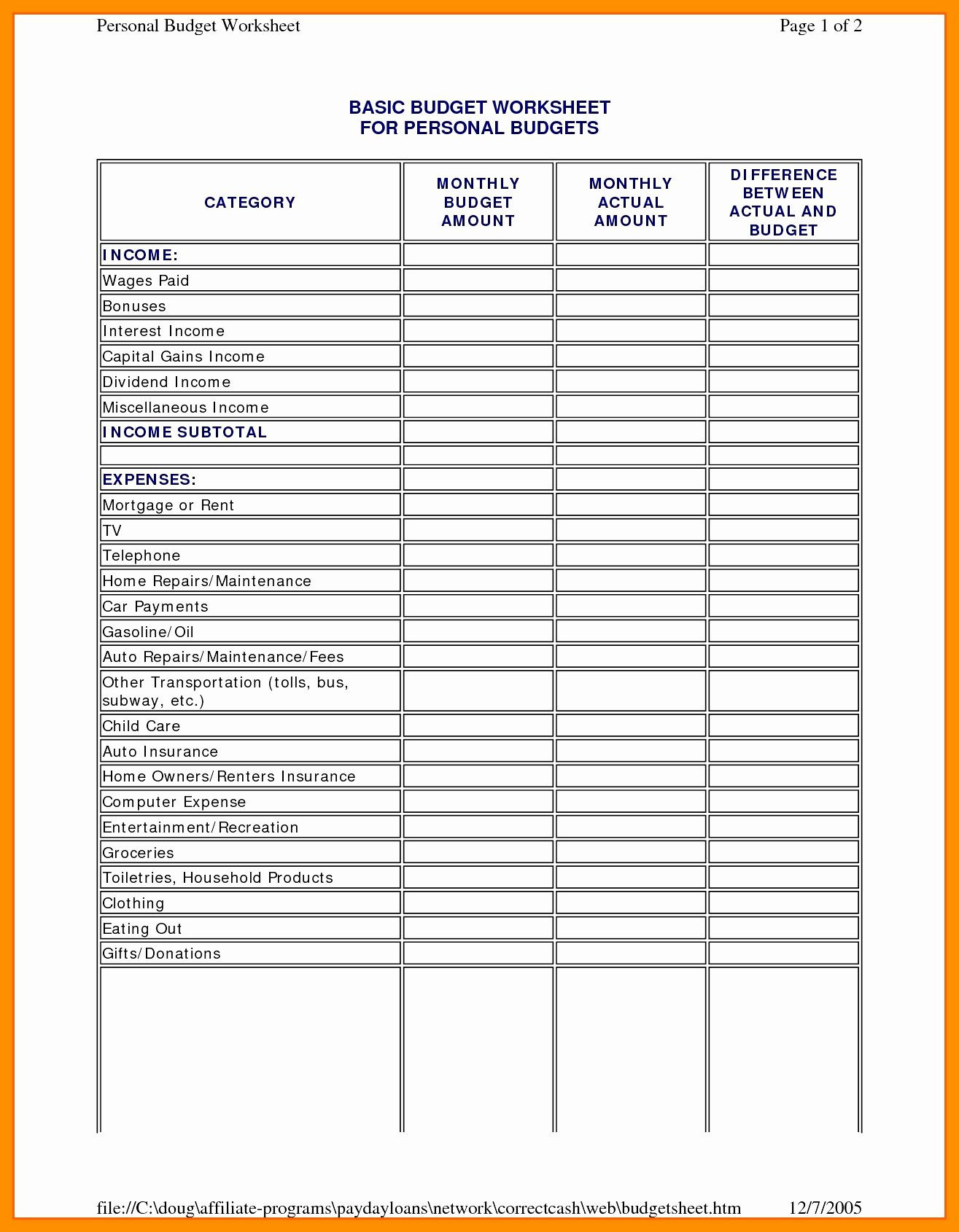 Home Daycare Income And Expense Worksheet