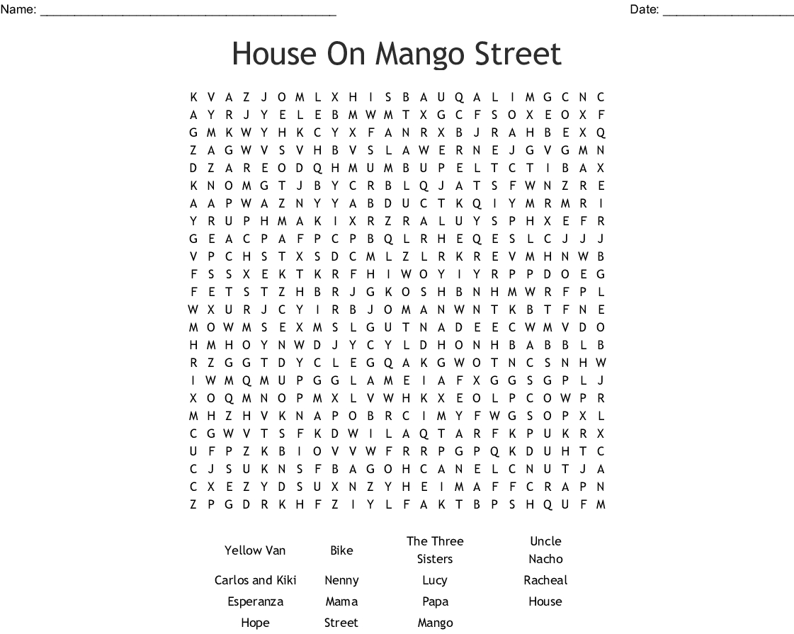 House On Mango Street Word Search Word