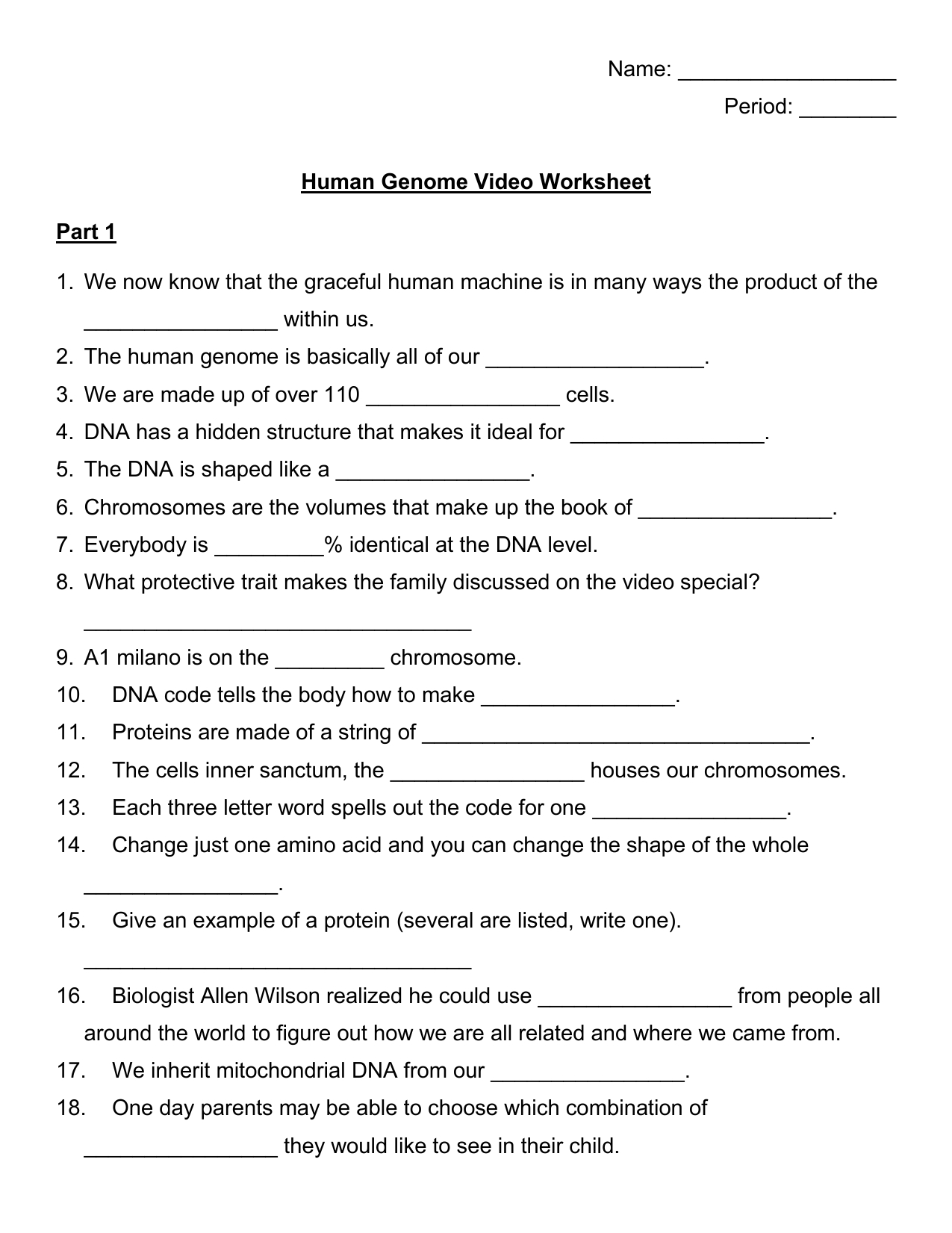 Cracking Your Genetic Code Worksheet