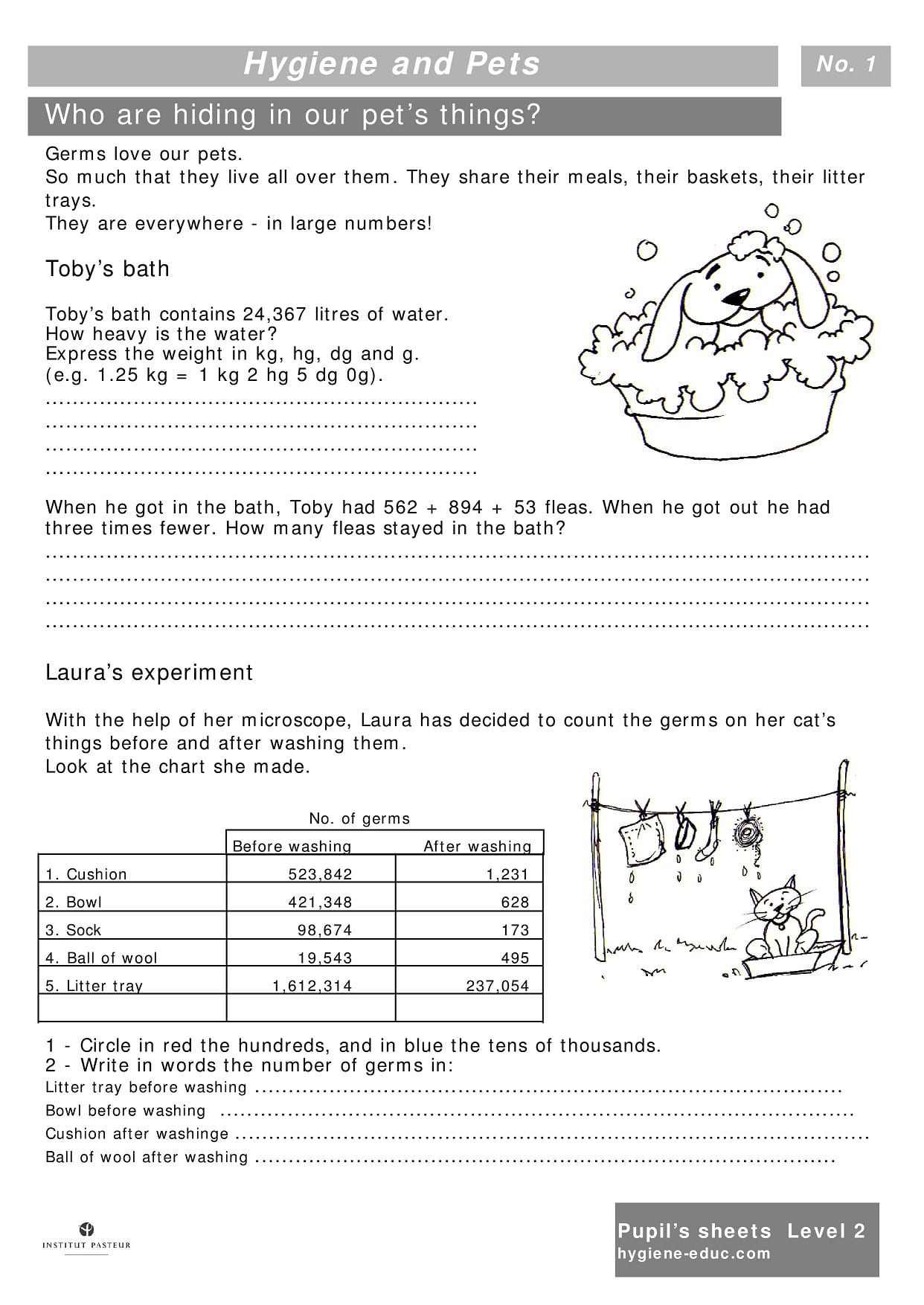 Hygiene And Pets Worksheets For Kids Level 2 Personal