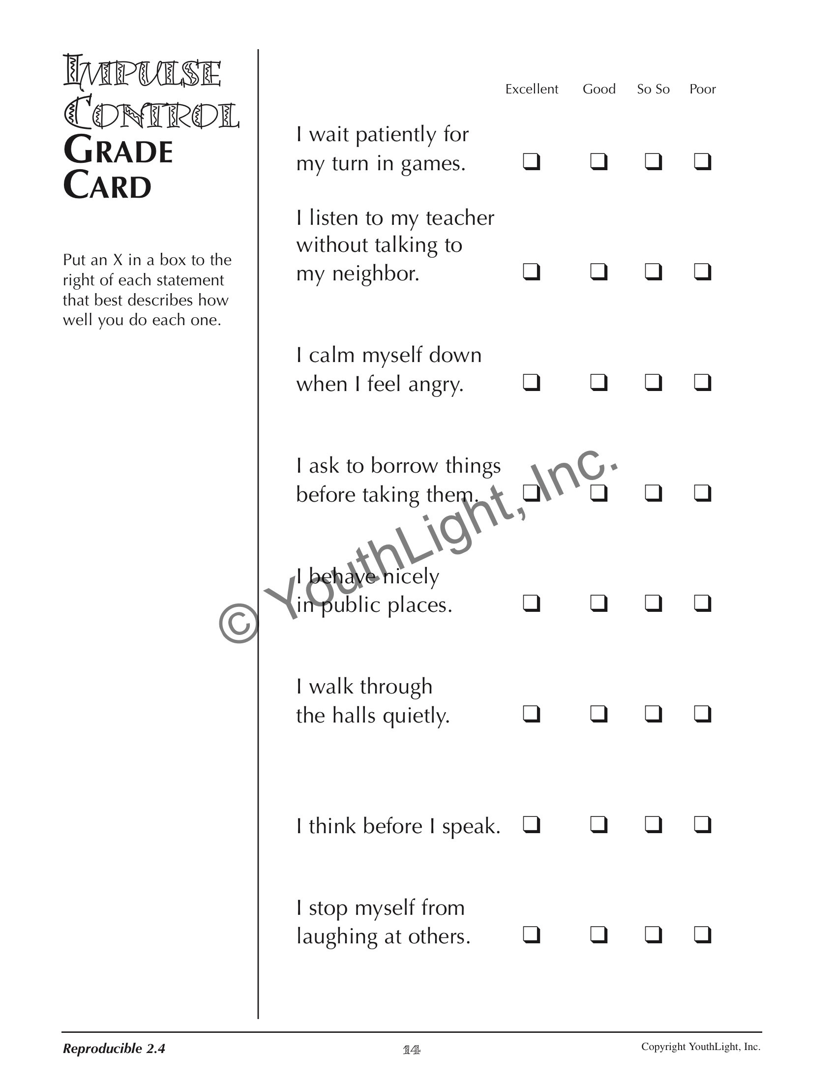 Impulse Control Worksheets Printable Db Excel