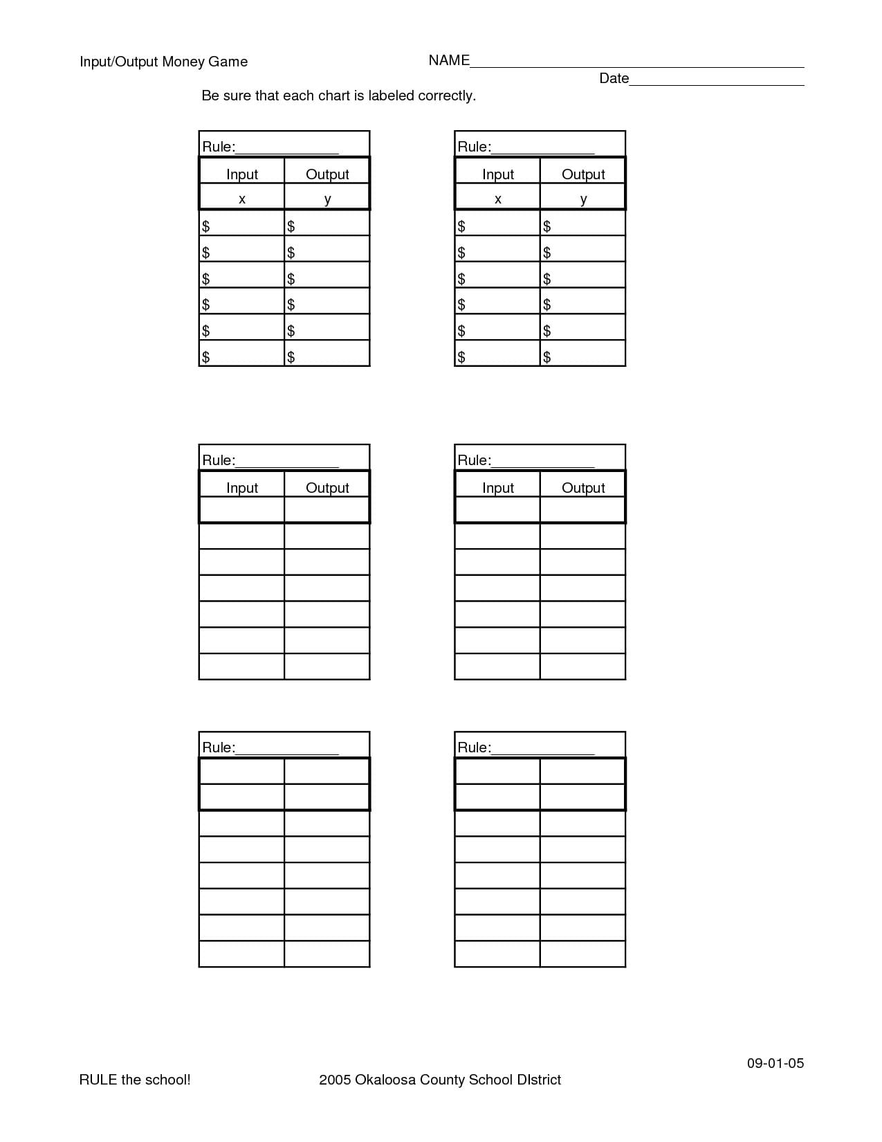 Input Output Tables Worksheet