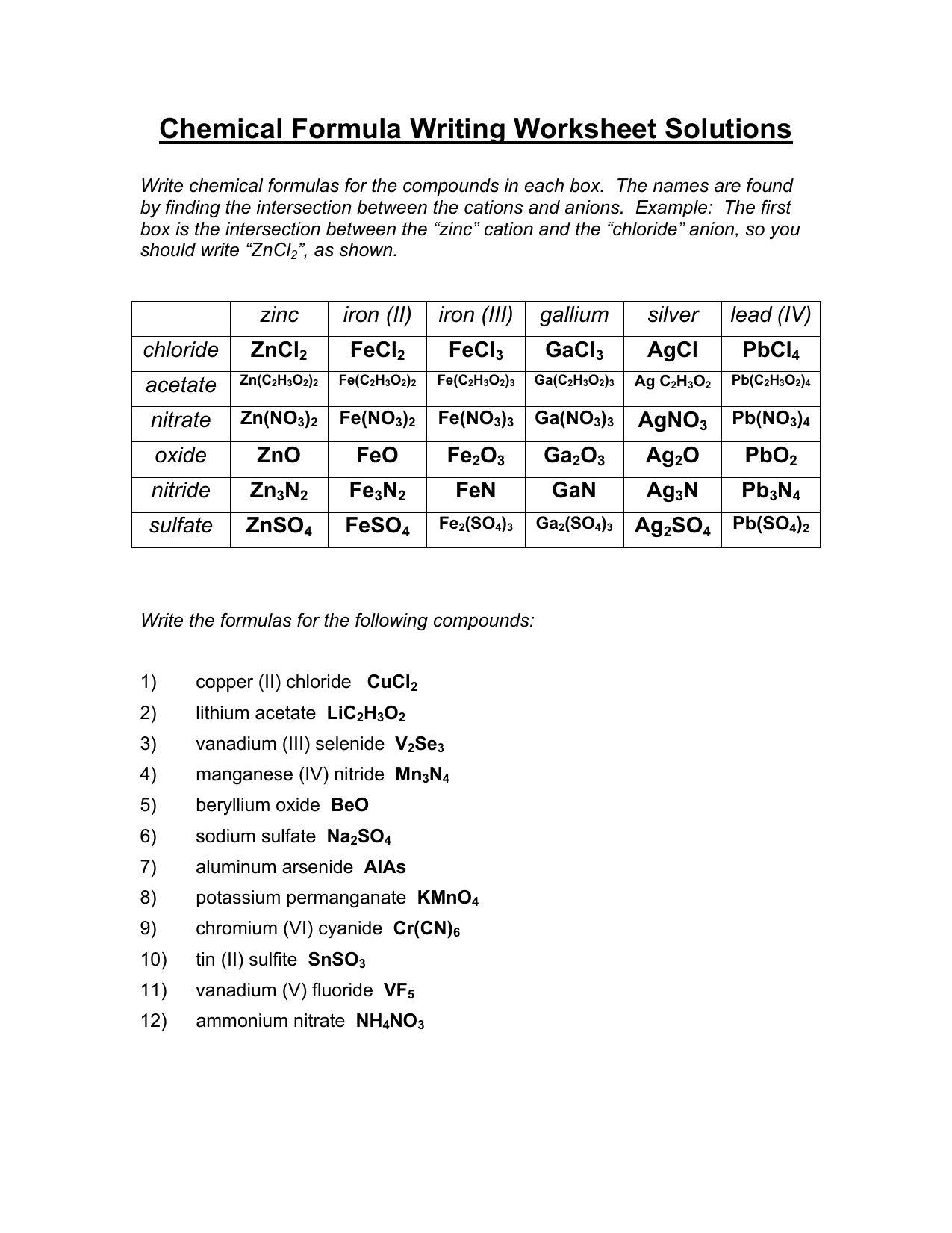 Writing Binary Formulas Worksheet Answers