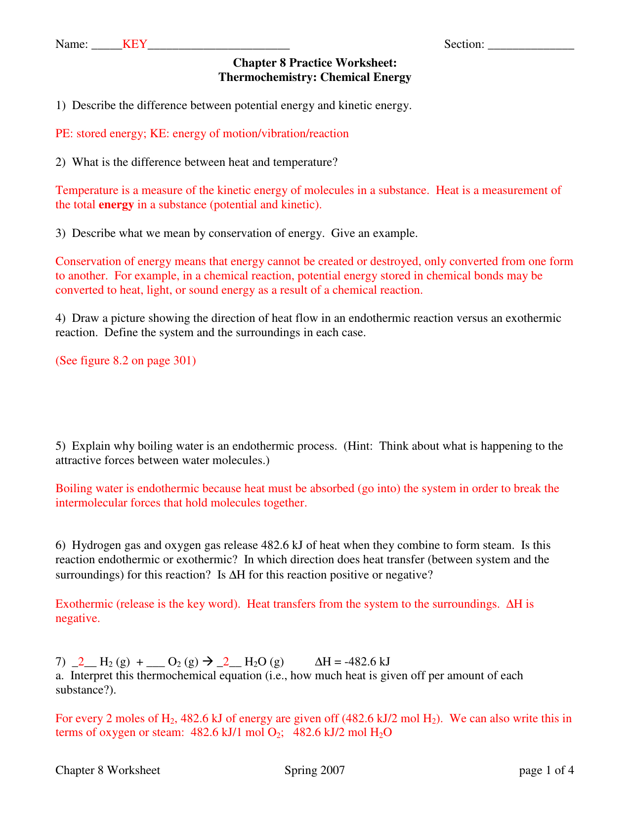 Heat Transfer Examples Worksheet