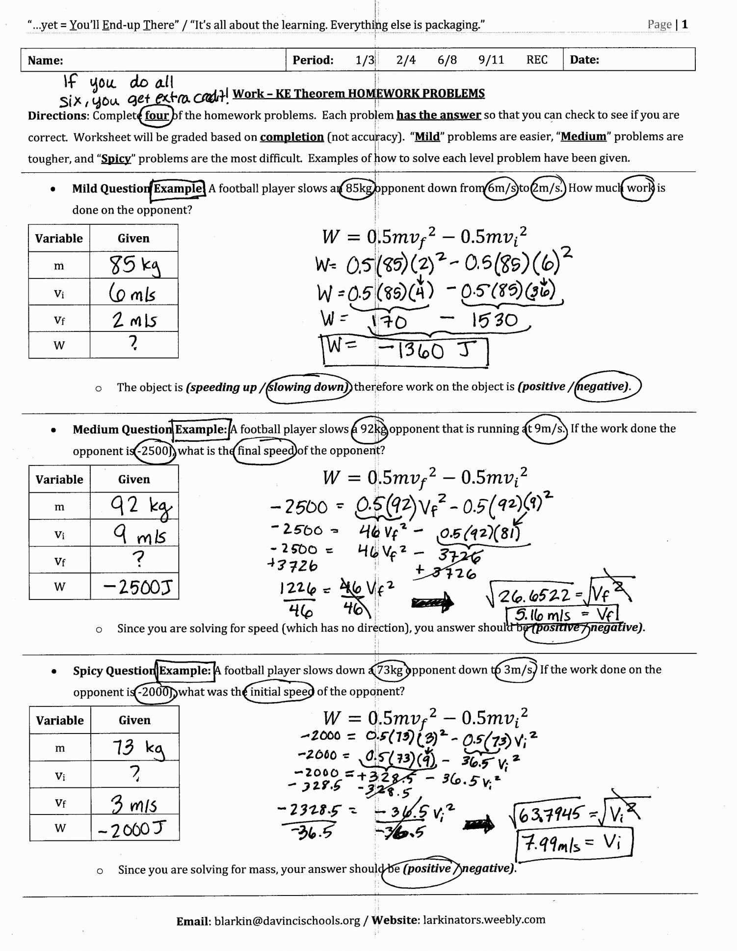 Potential Energy Problems Worksheet