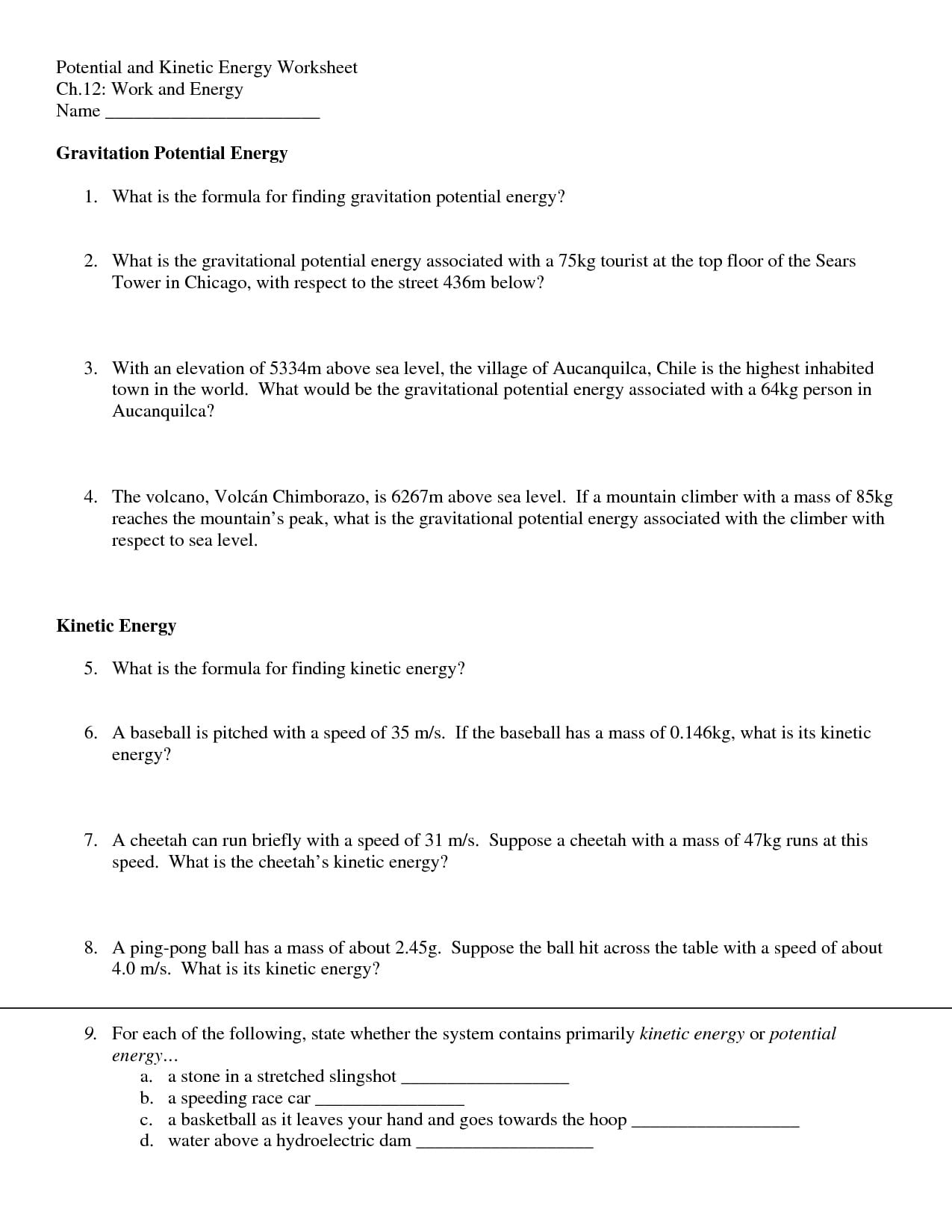 Kinetic Energy And Potential Energy Worksheet