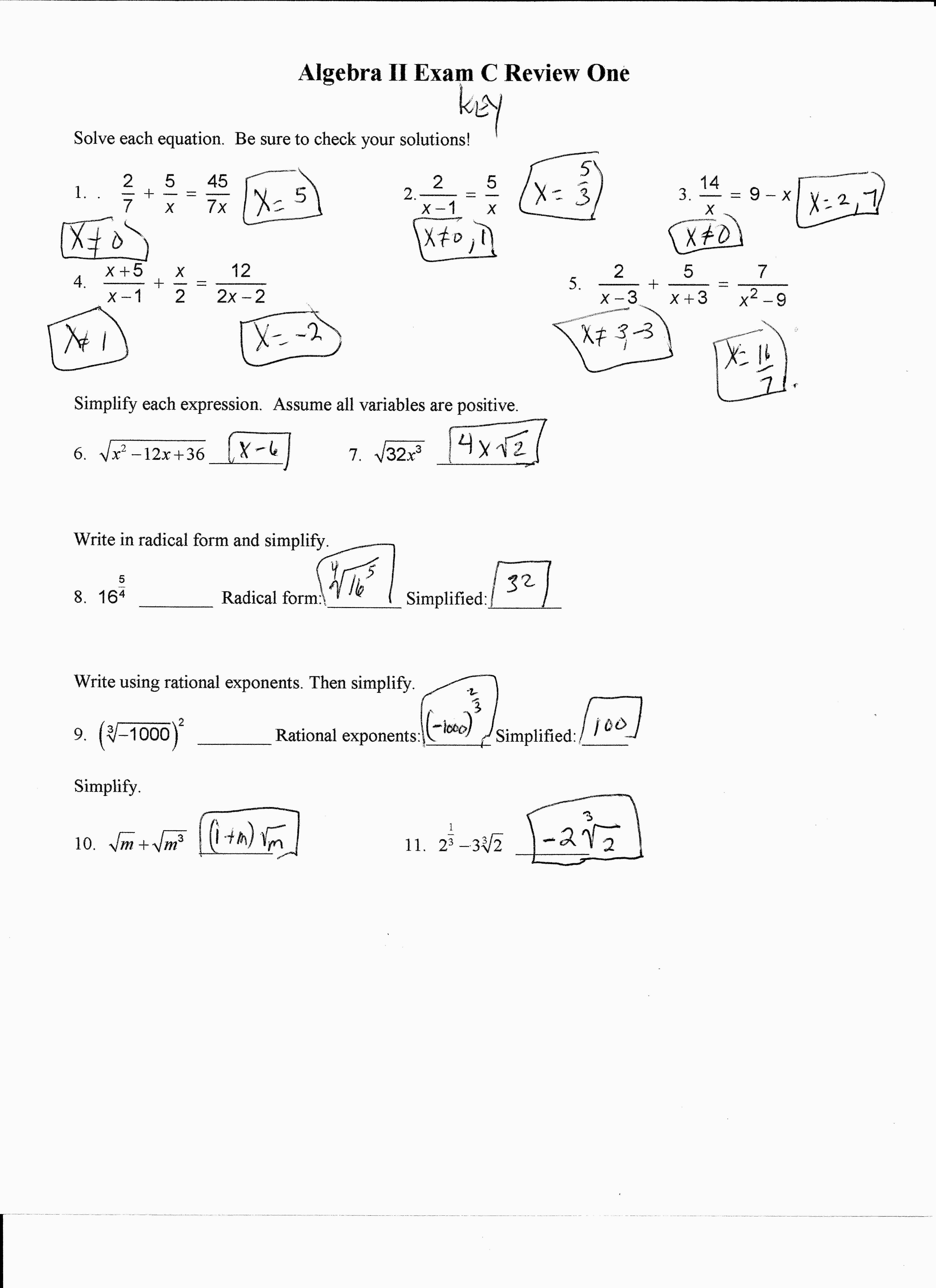 Algebra 2 Factoring Worksheet Key