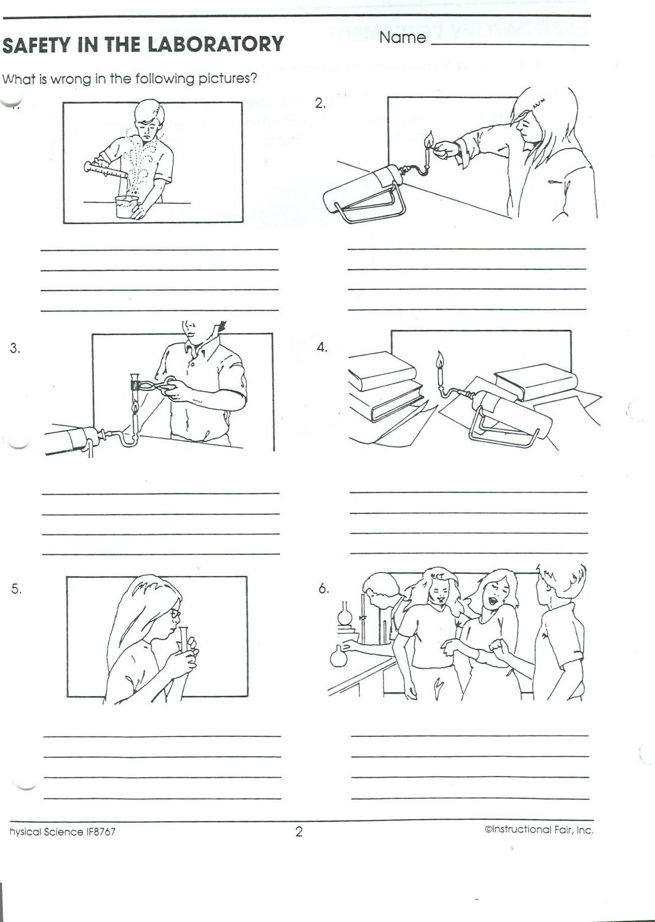 Lab Safety Worksheet Elementary