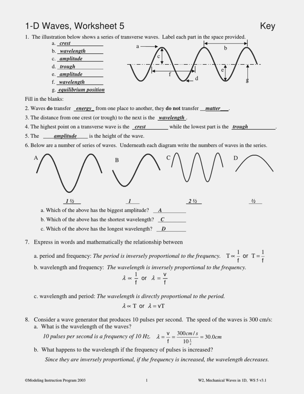 Worksheet Labeling Waves Answers Page 2
