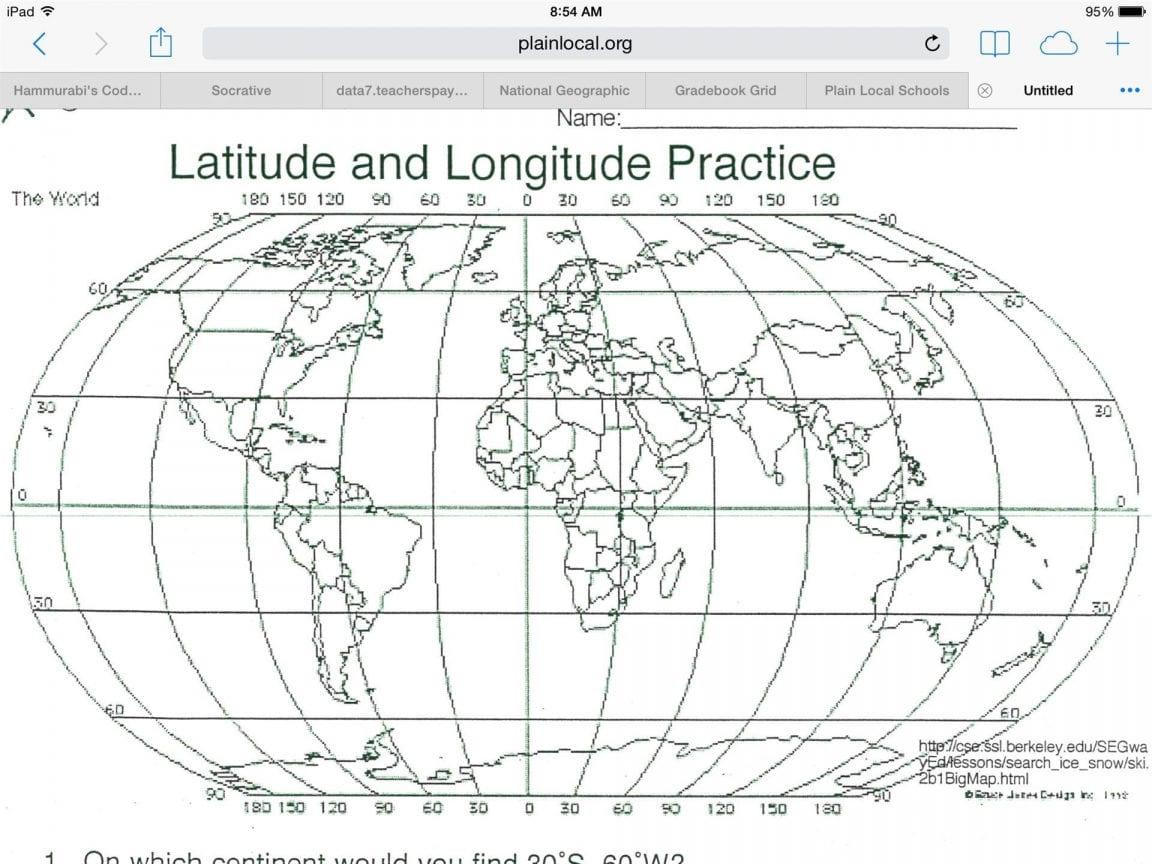 Latitude Longitude Printable Worksheets 68 Images In