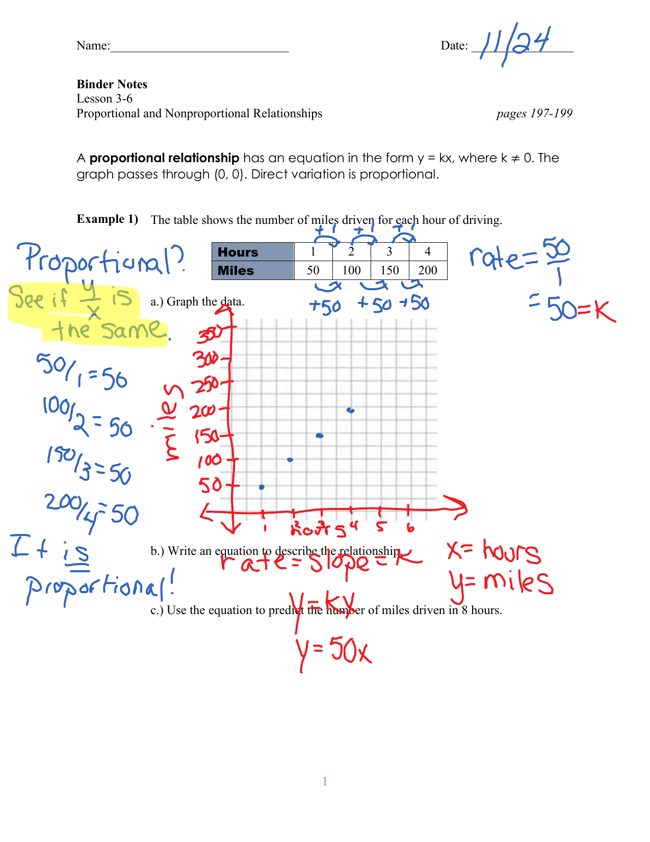 Lesson 36 Proportional And Nonproportional Relationships