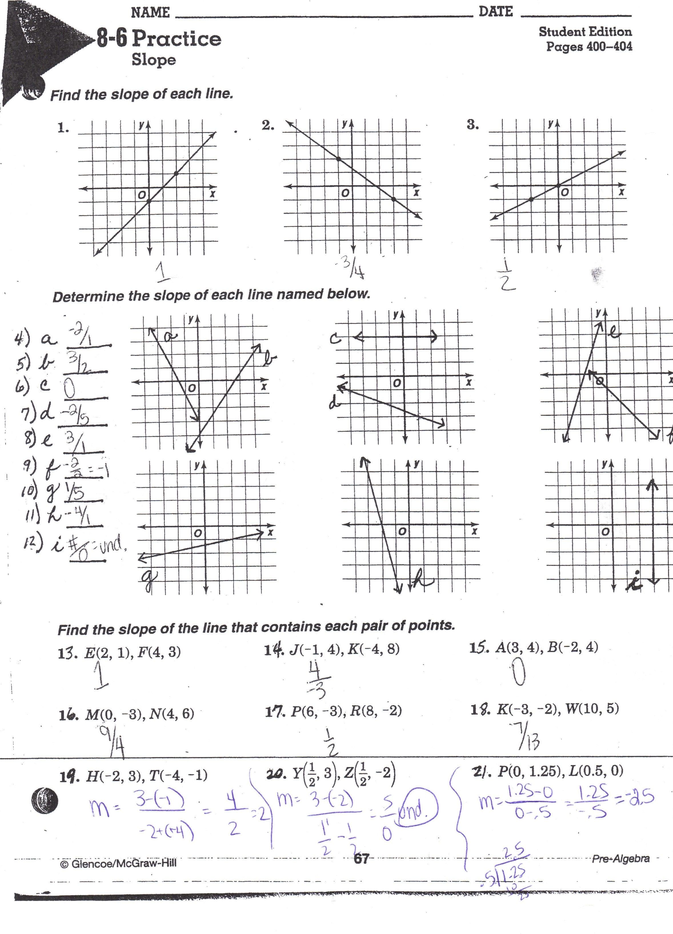 Lesson 4 Homework Practice Slopeintercept Form Answer Key