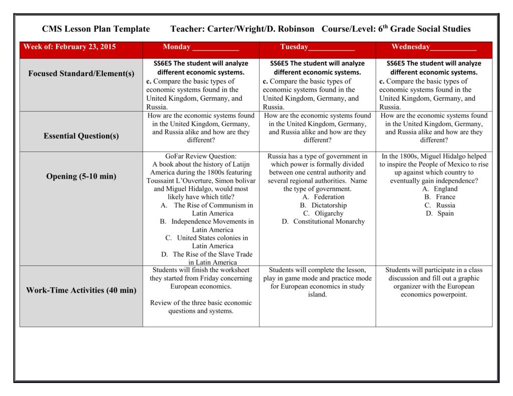 6th Grade Economics Worksheets
