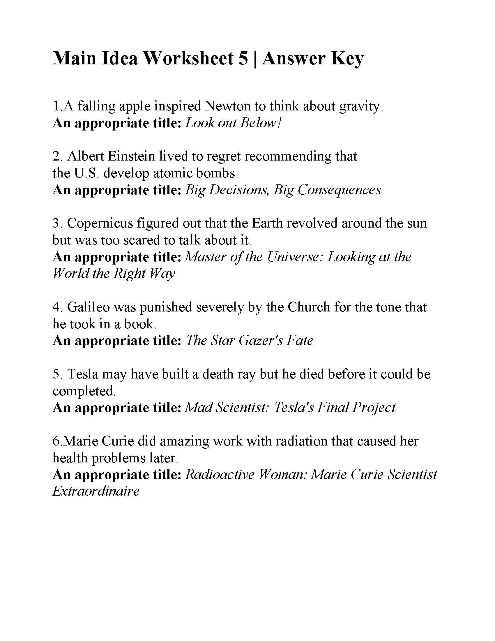 Main Idea Worksheet 5 Answers