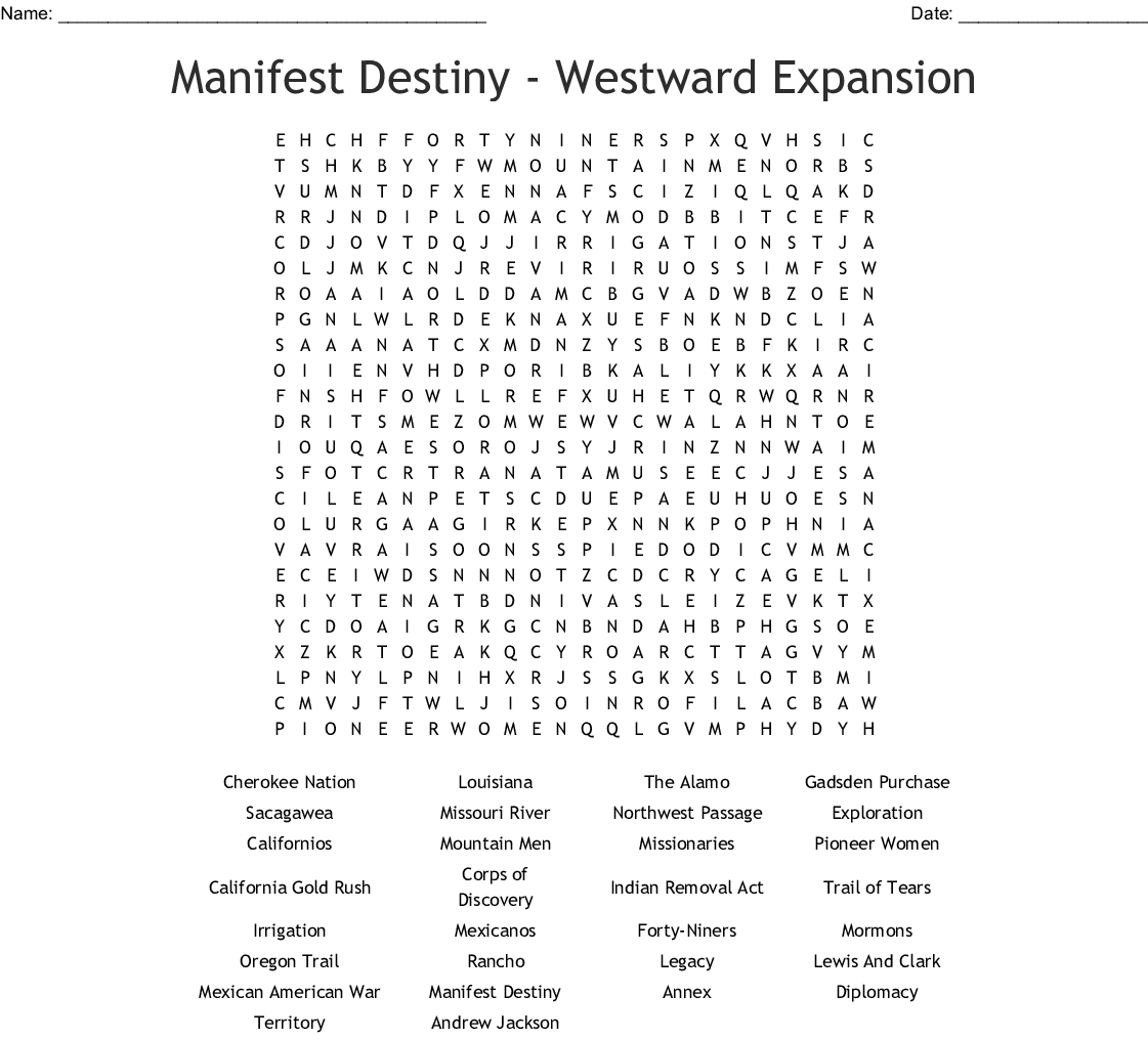 Manifest Destiny Westrd Expansion Word Search Word