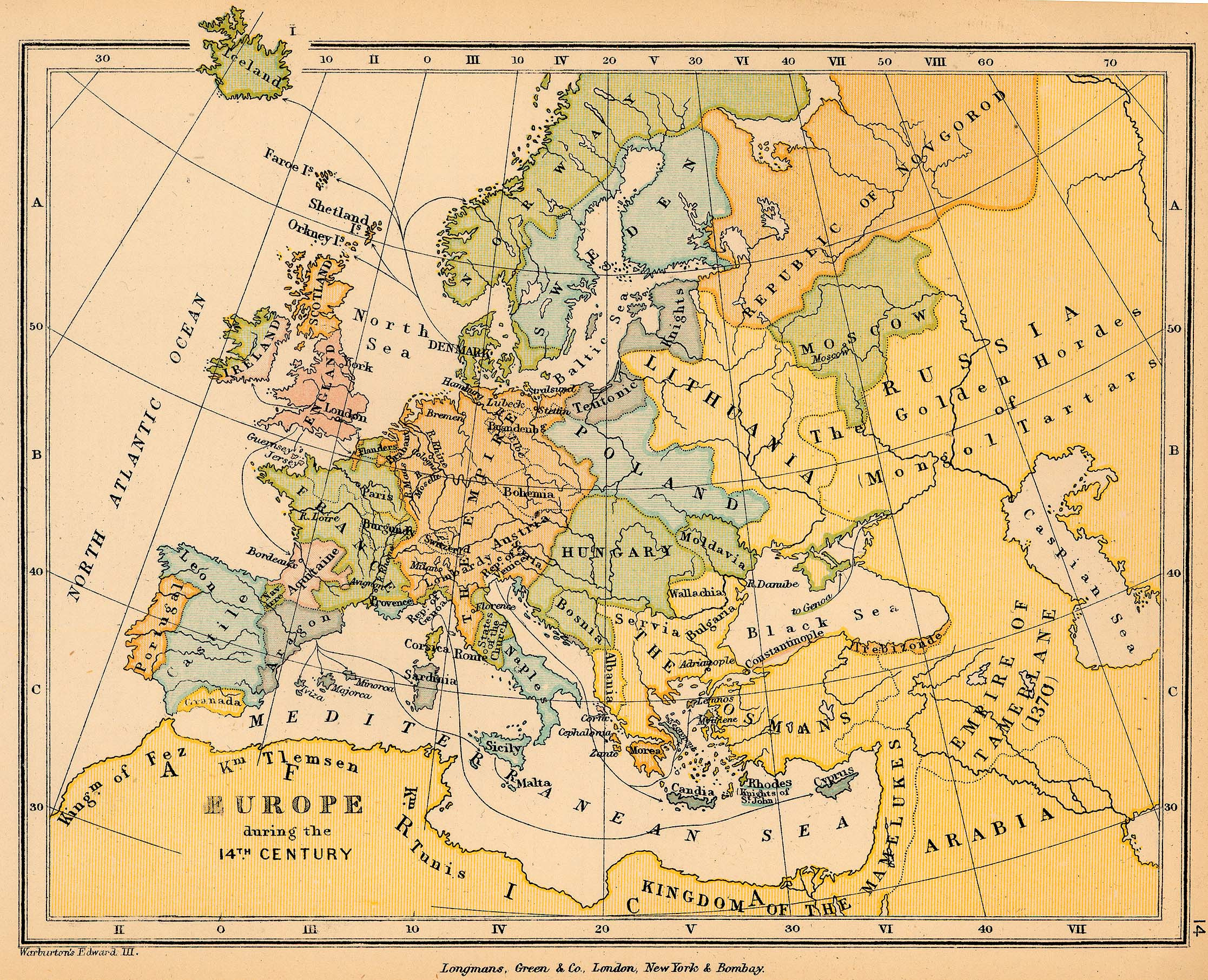 14th Century Middle Ages Europe Map Worksheet