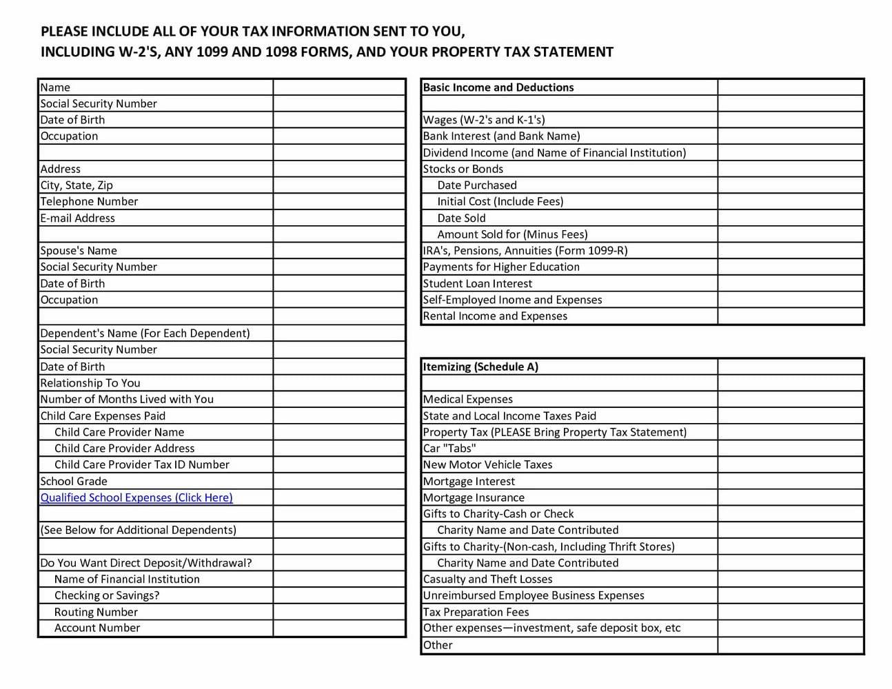 Tax Preparation Worksheet