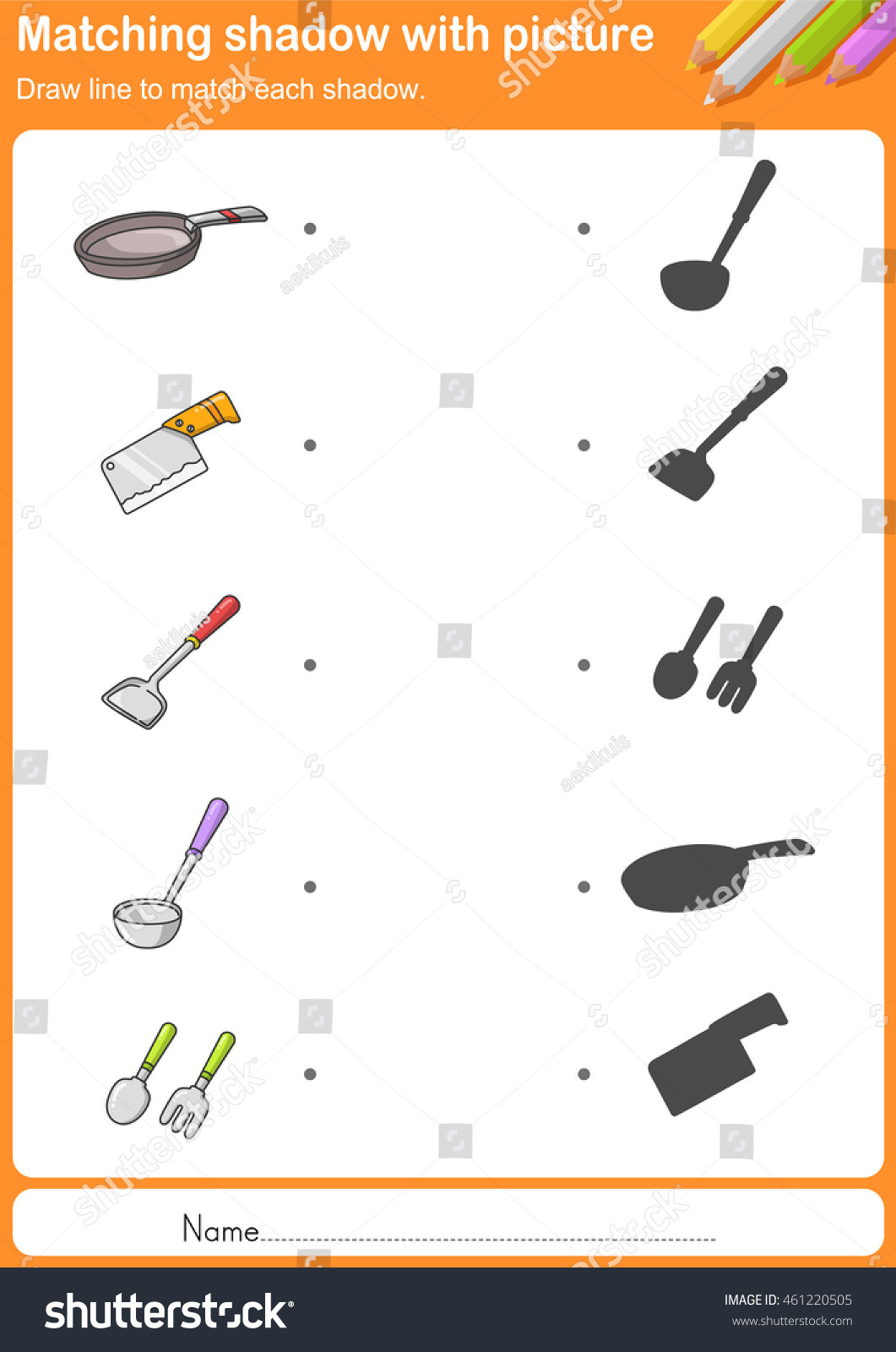 Match Kitchen Tools Shadow Worksheet Education Stock