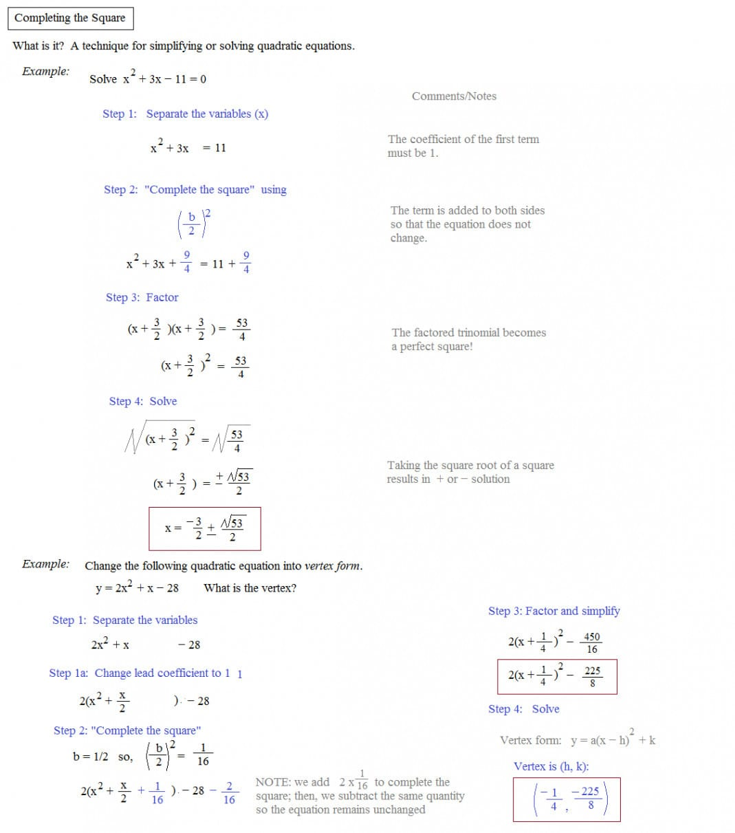 Math 154b Completing The Square Worksheet Answers Yooob