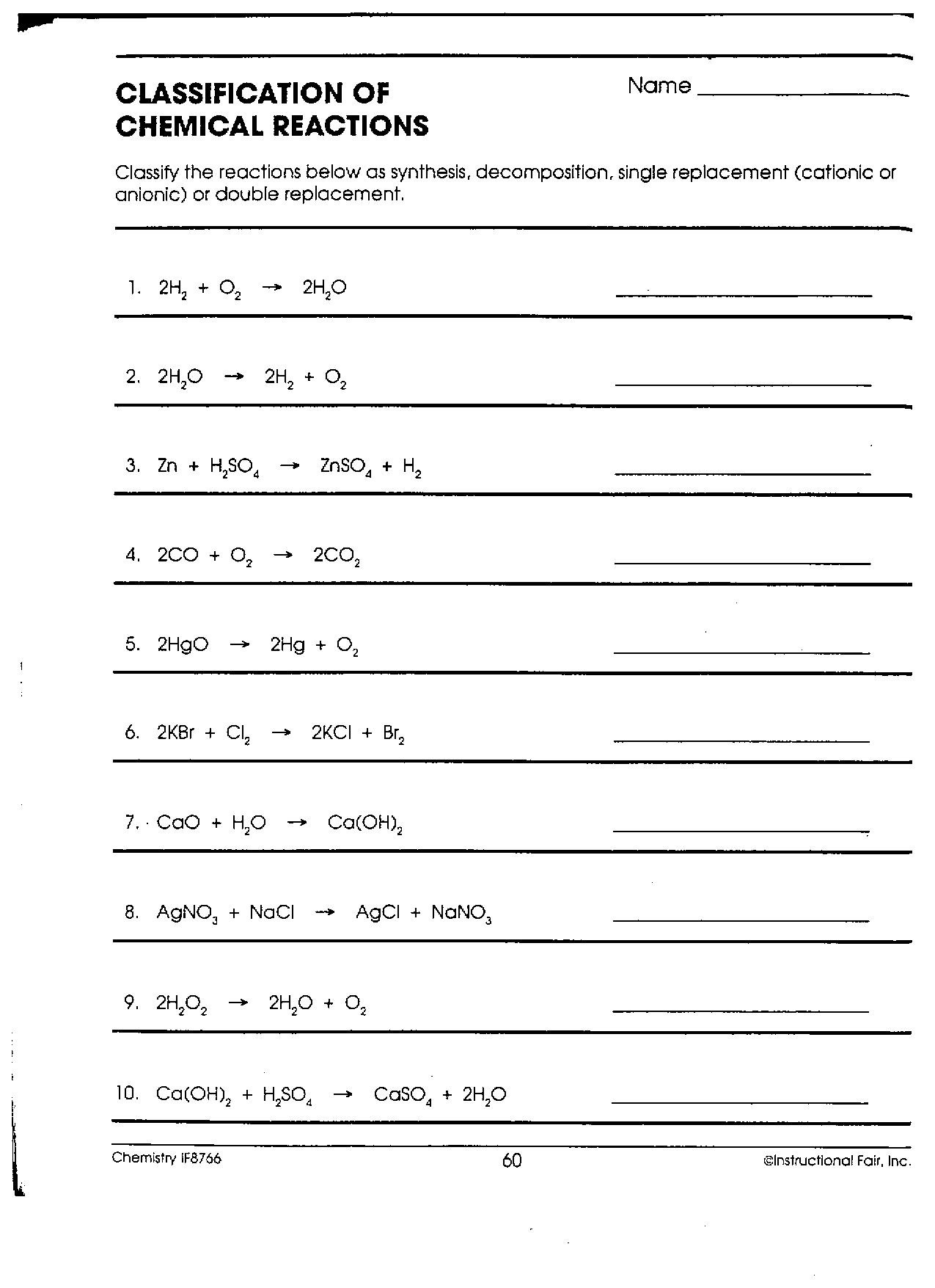 Chemistry Worksheets For High School