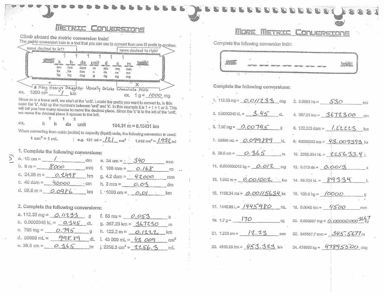 Math Conversions Worksheet