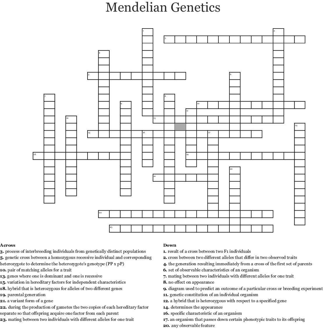 Mendelian Genetics Crossword Word