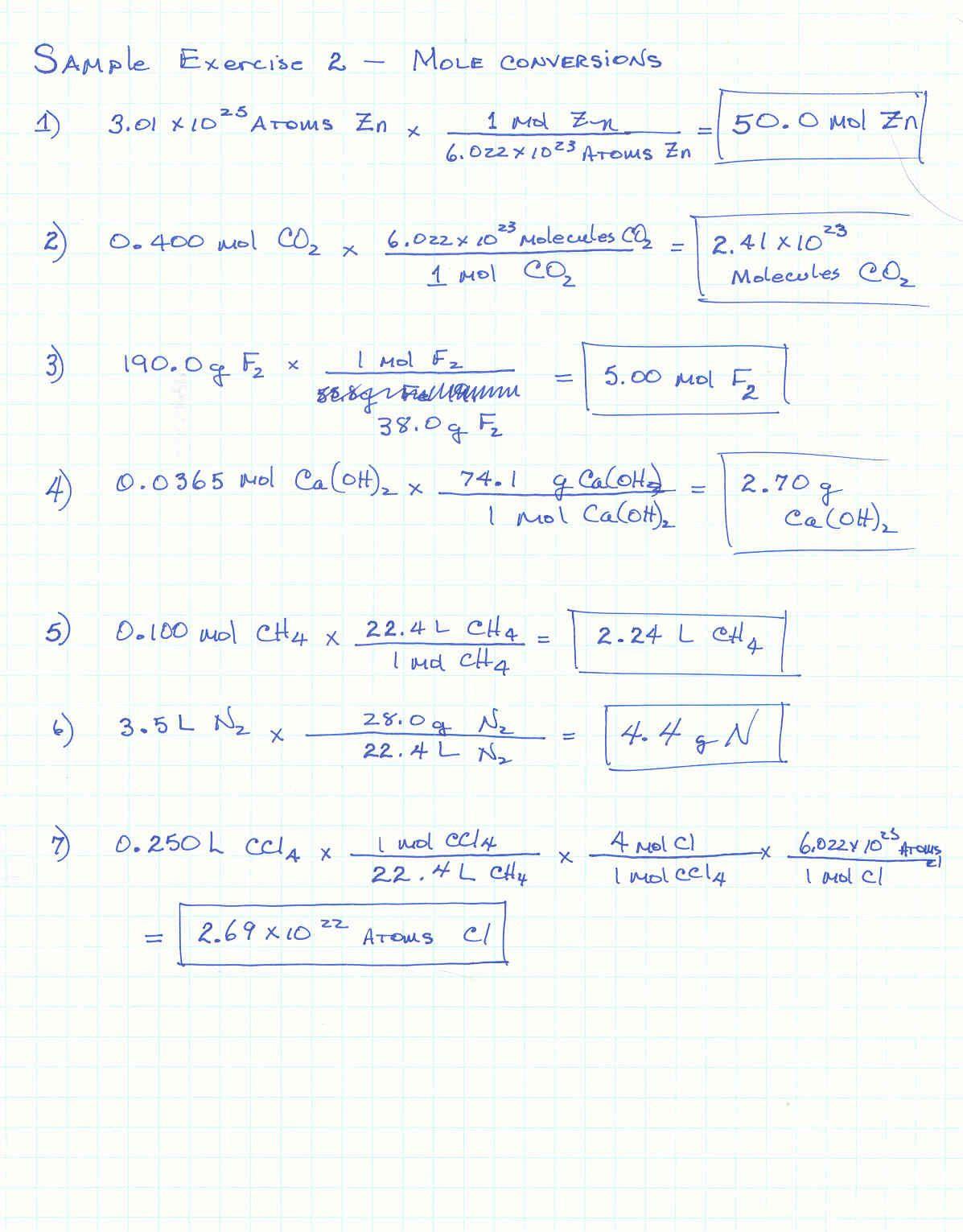 Molar Mass Worksheet Answers