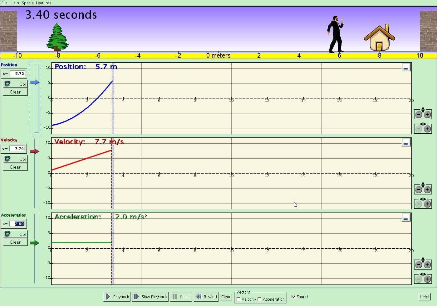 Motion Concepts Displacement Velocity Acceleration Graphs