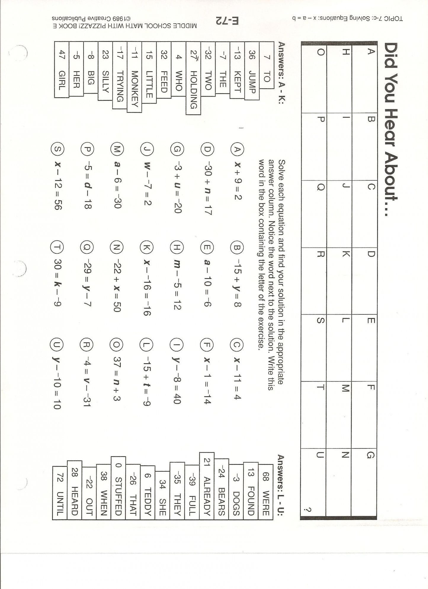 Moving Words Math Did U Hear About Math Worksheet Answers