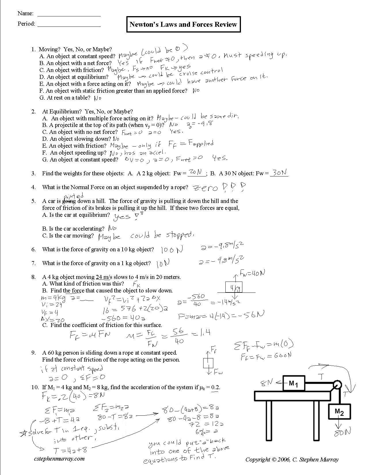 Weight Friction And Equilibrium Worksheet Answers