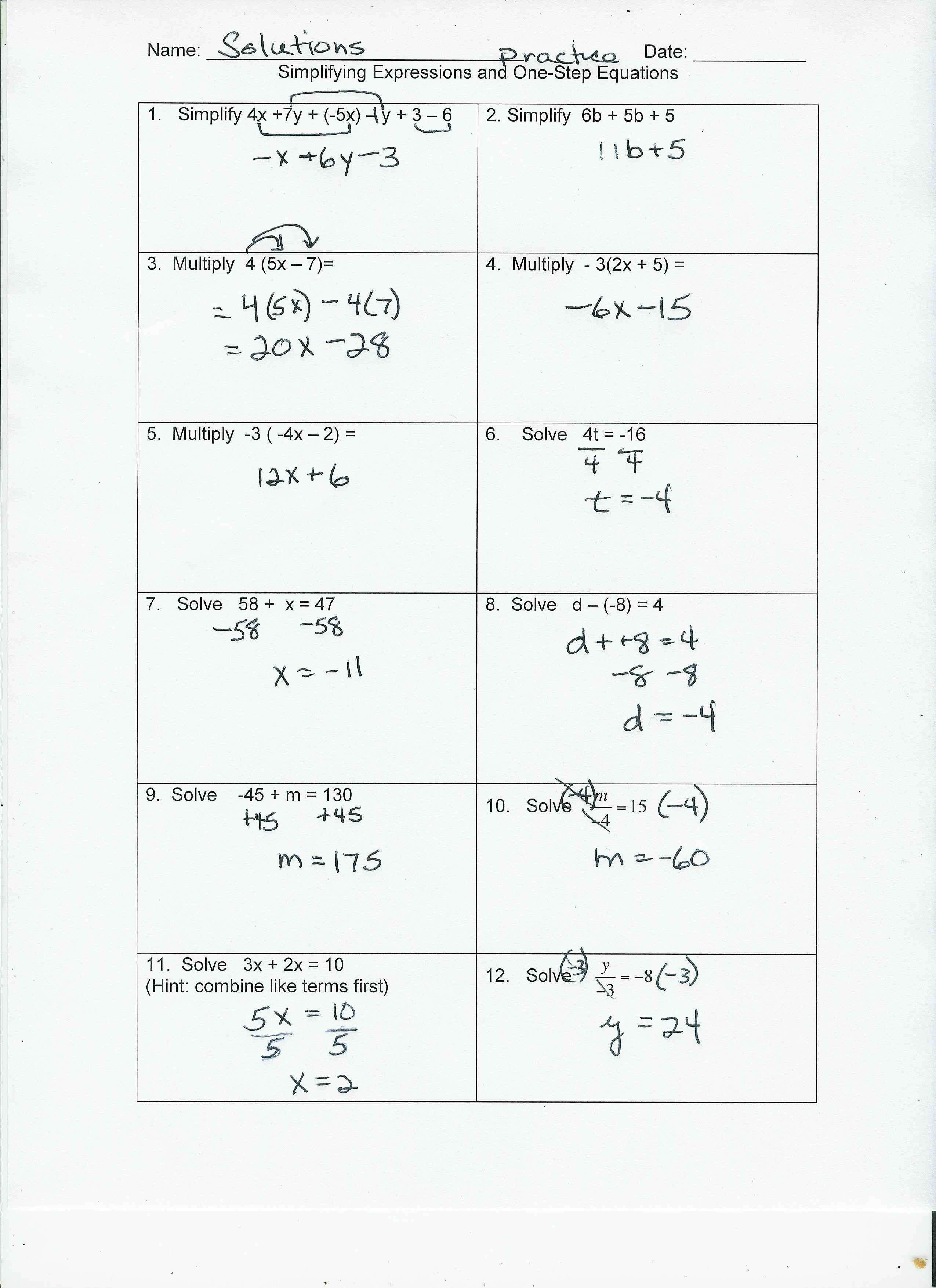 Solving Multi Step Equations Worksheet Answers