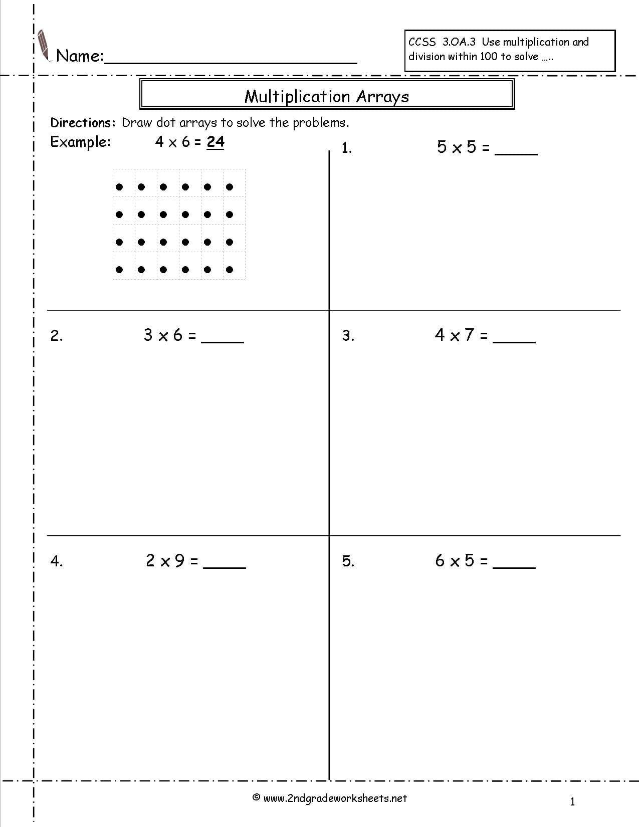 Multiplication Arrays Worksheets 4th Grade