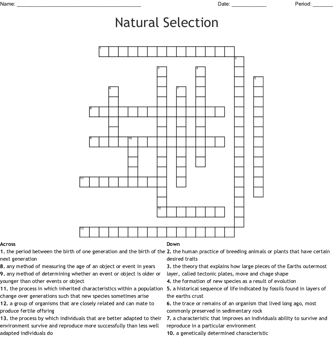 Evolution By Natural Selection Worksheet Answers