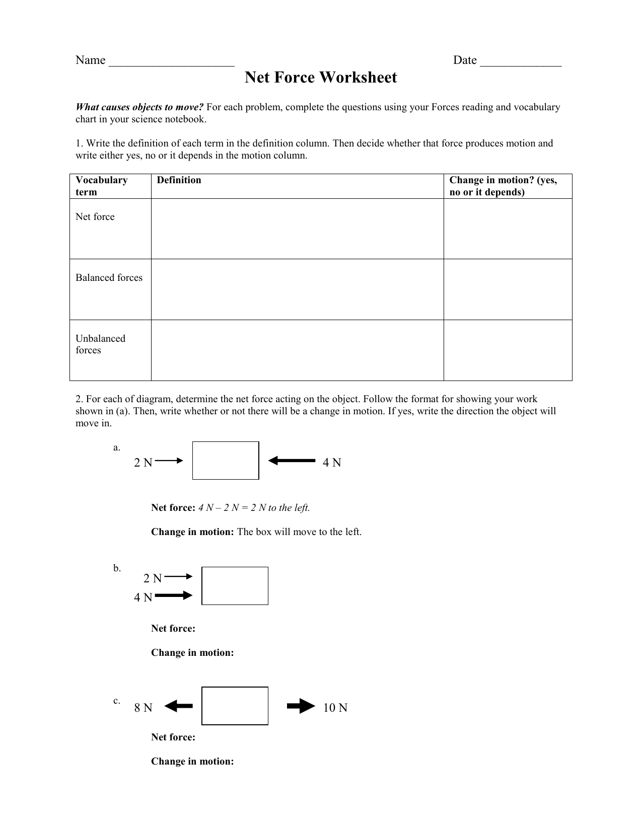 Net Force Worksheet Answers Db Excel