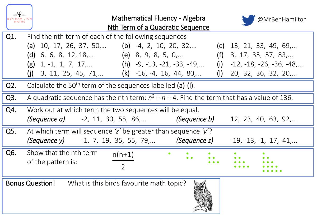 Nth Term Of Quadratic Sequences Fluency Worksheet Free