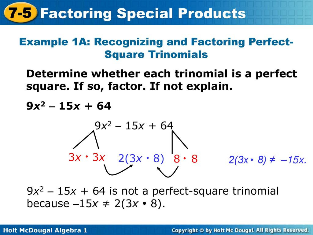 Objectives Factor Perfectsquare Trinomials Ppt Download