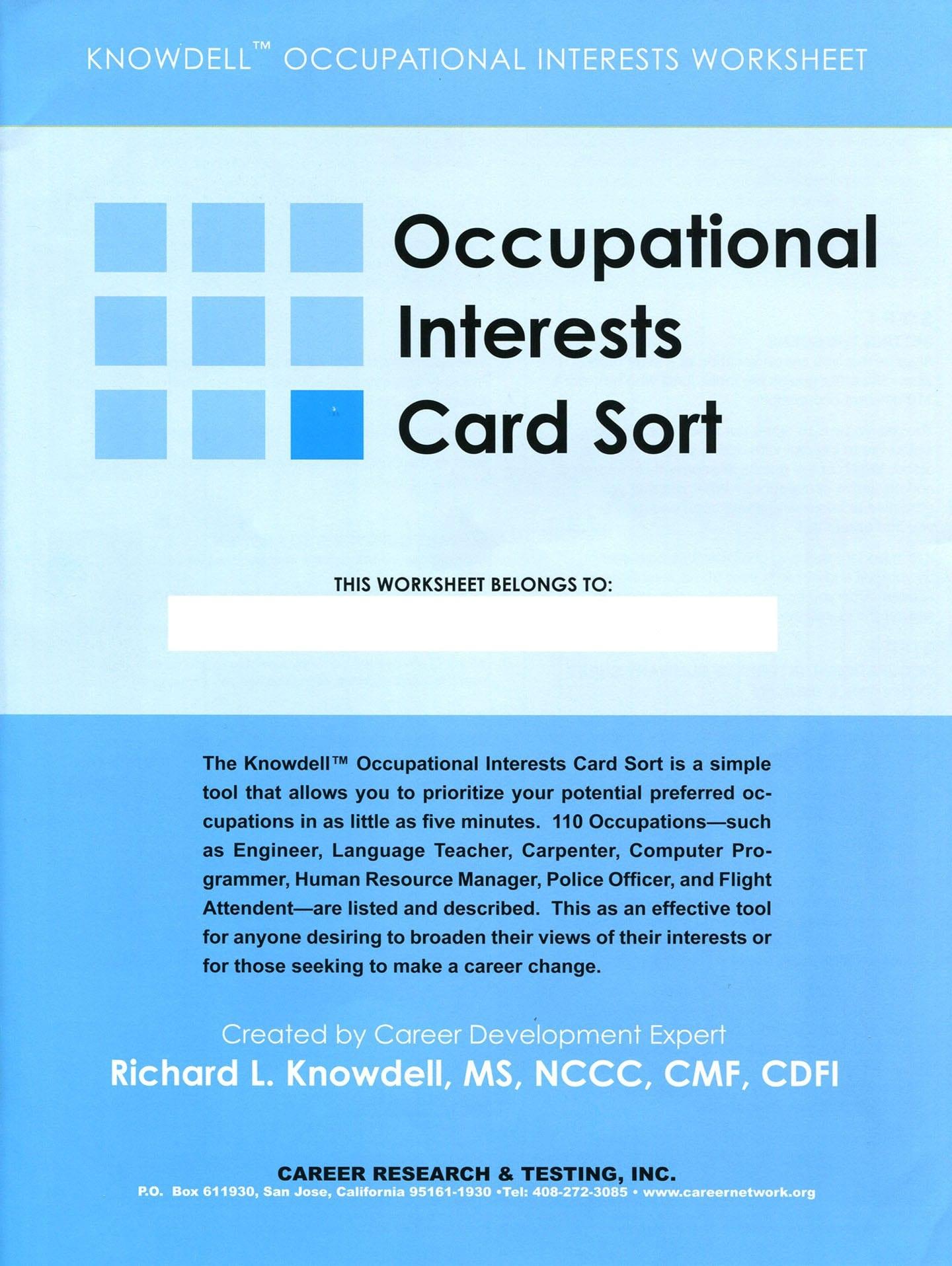 Career Interest Worksheet