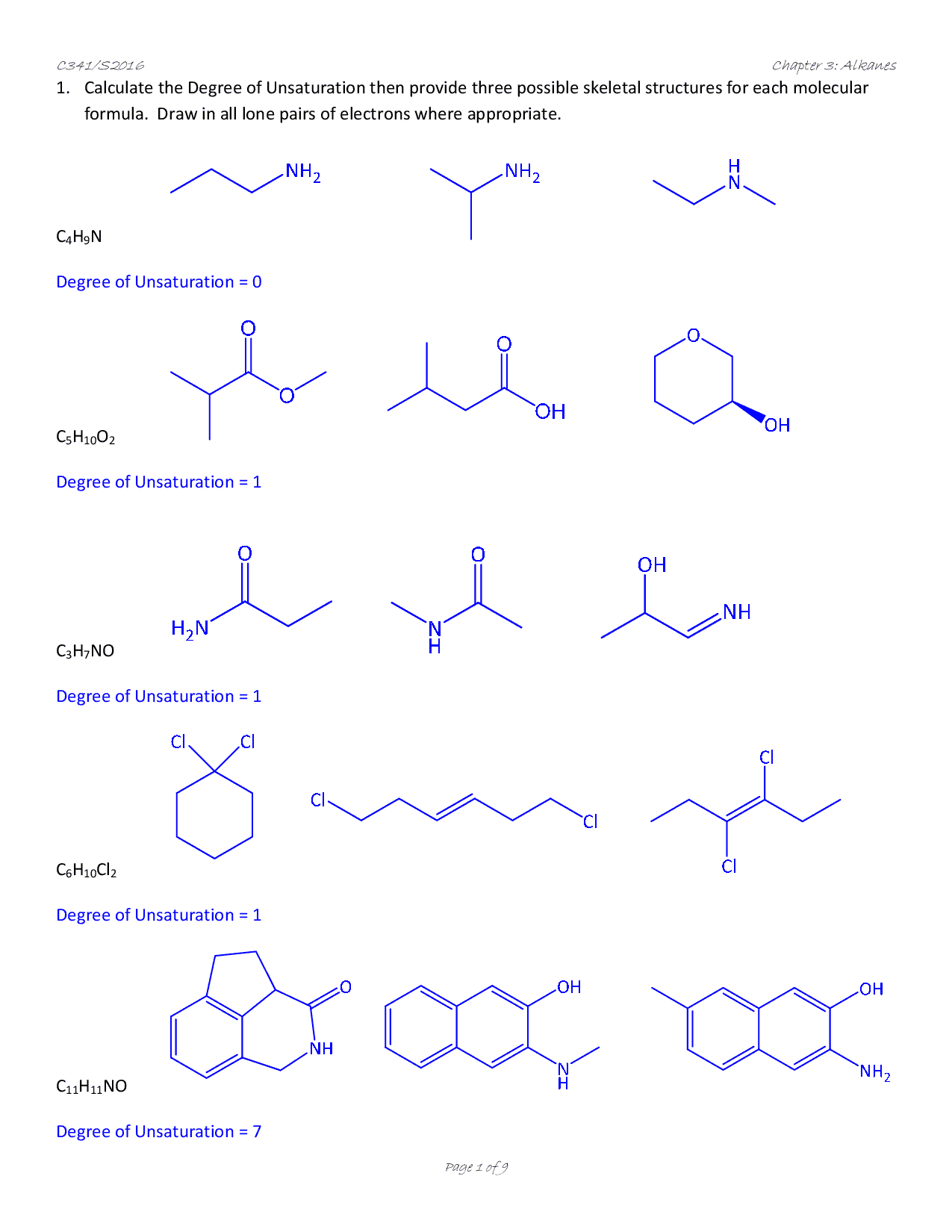 Organic Chemistry 1 Isomers Worksheet Answers Docsity