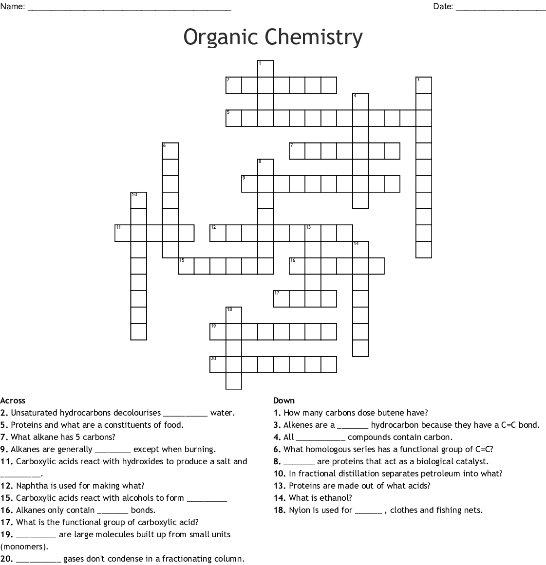 Organic Compounds Worksheet Biology Answers