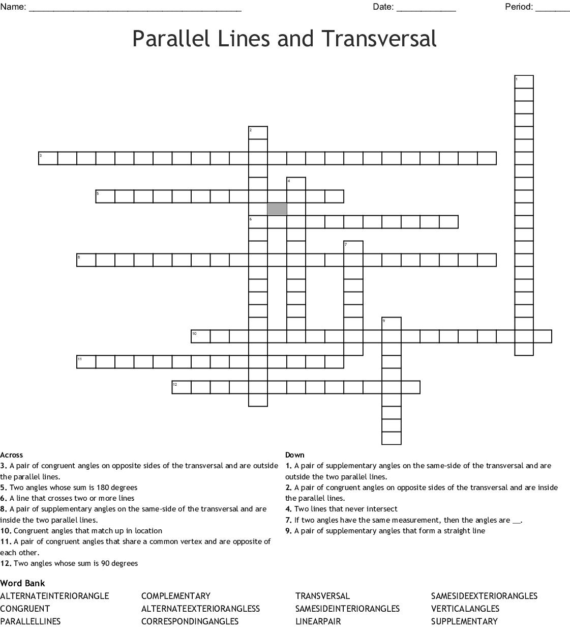Parallel Lines And Transversal Crossword Word