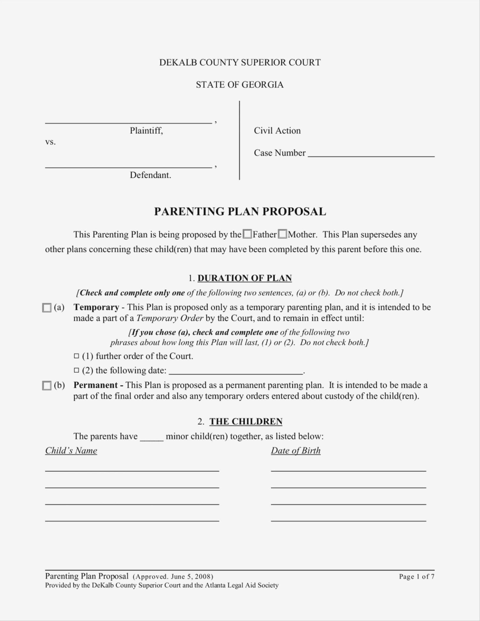 Parenting Plan Worksheet Illinois Excelguider