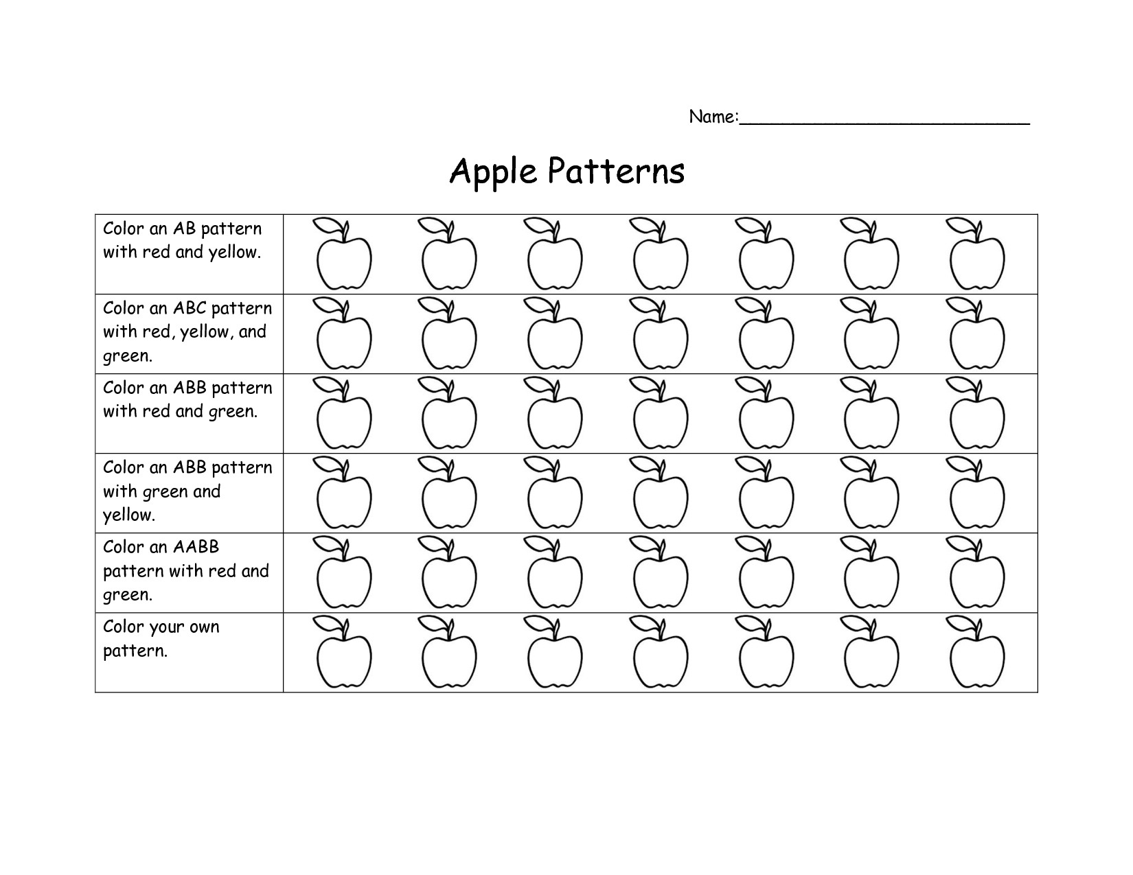 Pattern Worksheets For Preschool To You Math Worksheet For
