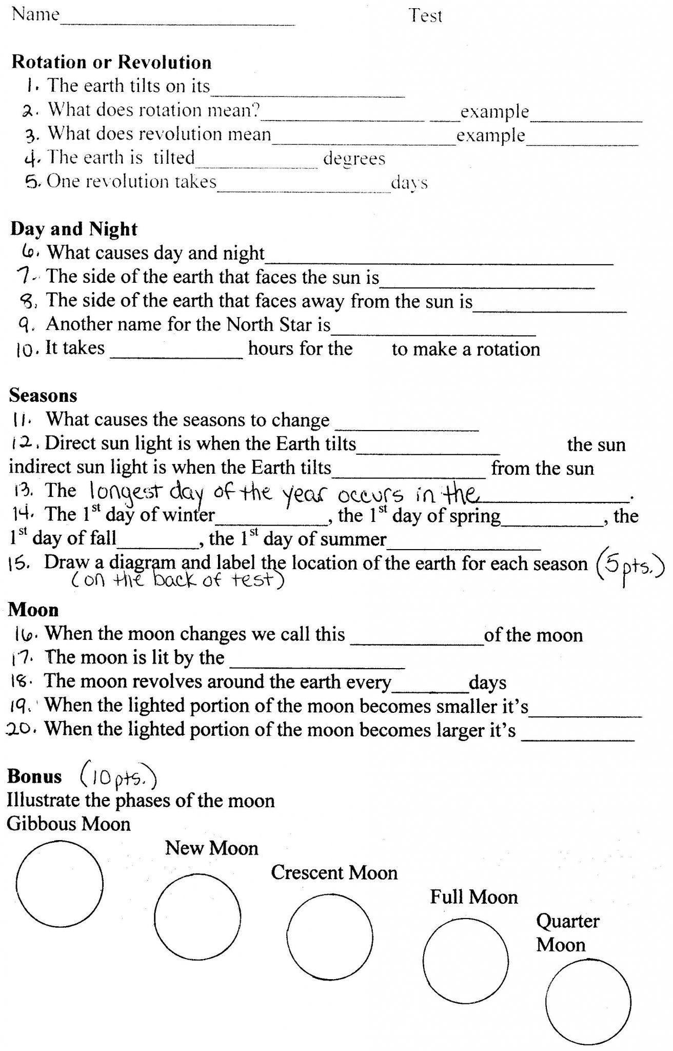 Earth In Space Worksheet Pearson Education Inc Answers