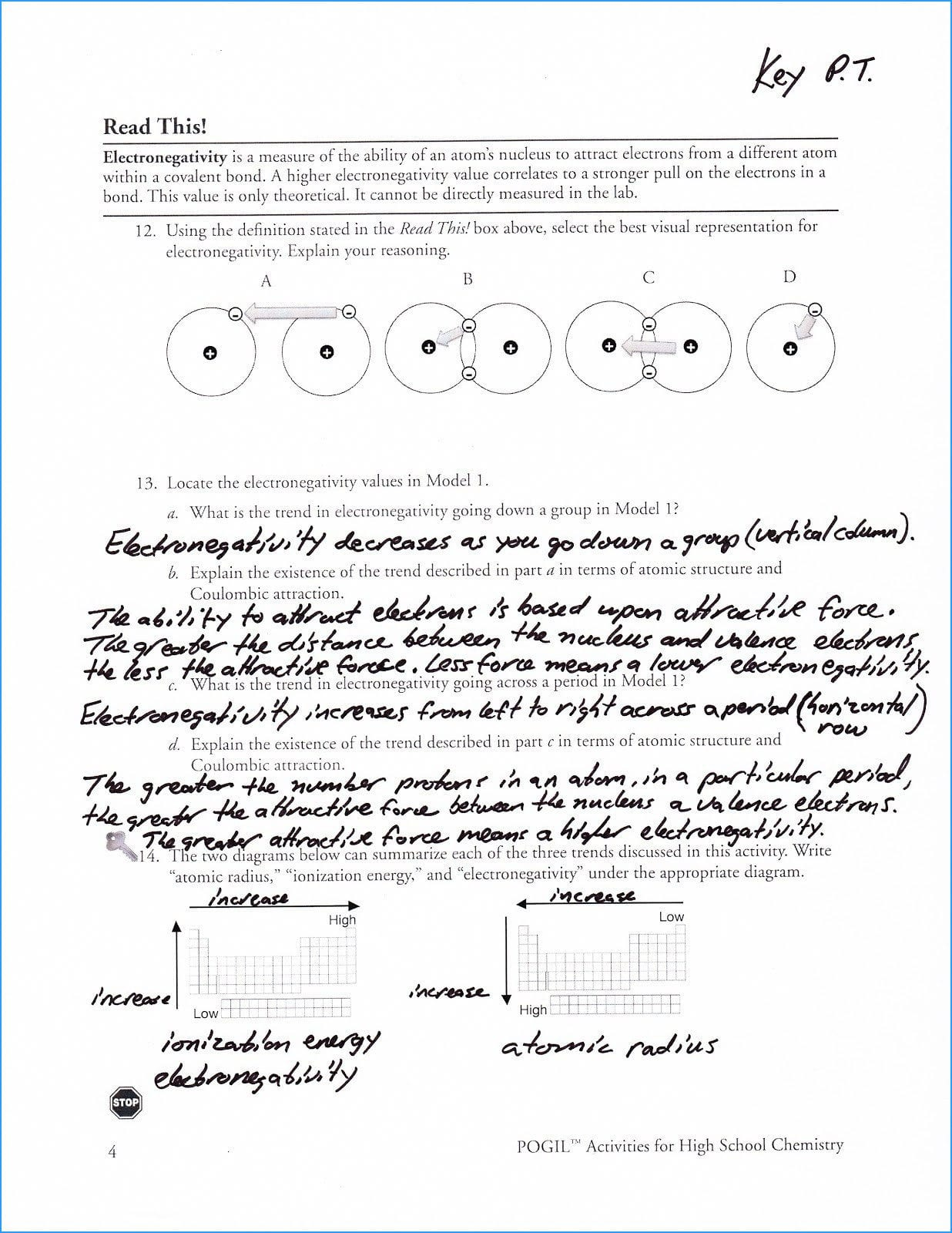 Periodic Trends Worksheet Answers Pogil