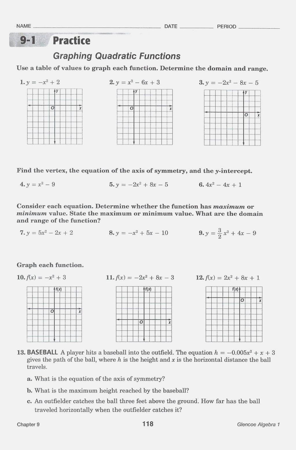 Practice Worksheet Graphing Quadratic Functions In
