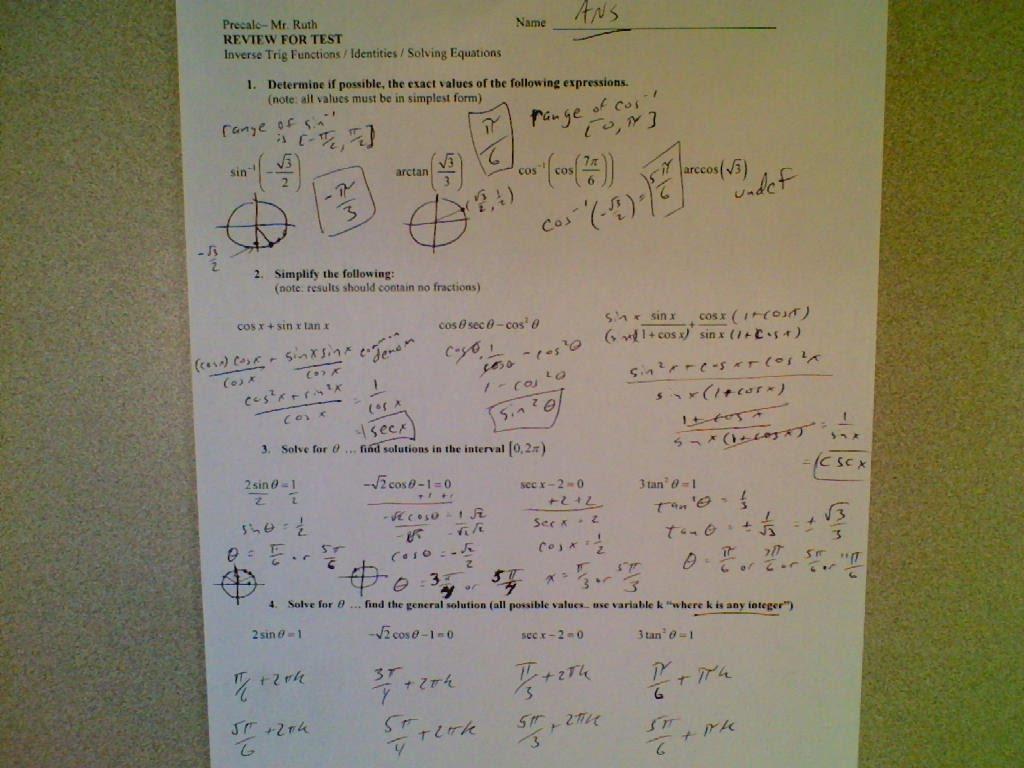 Precalculus Trig Day 2 Exact Values Worksheet Answers