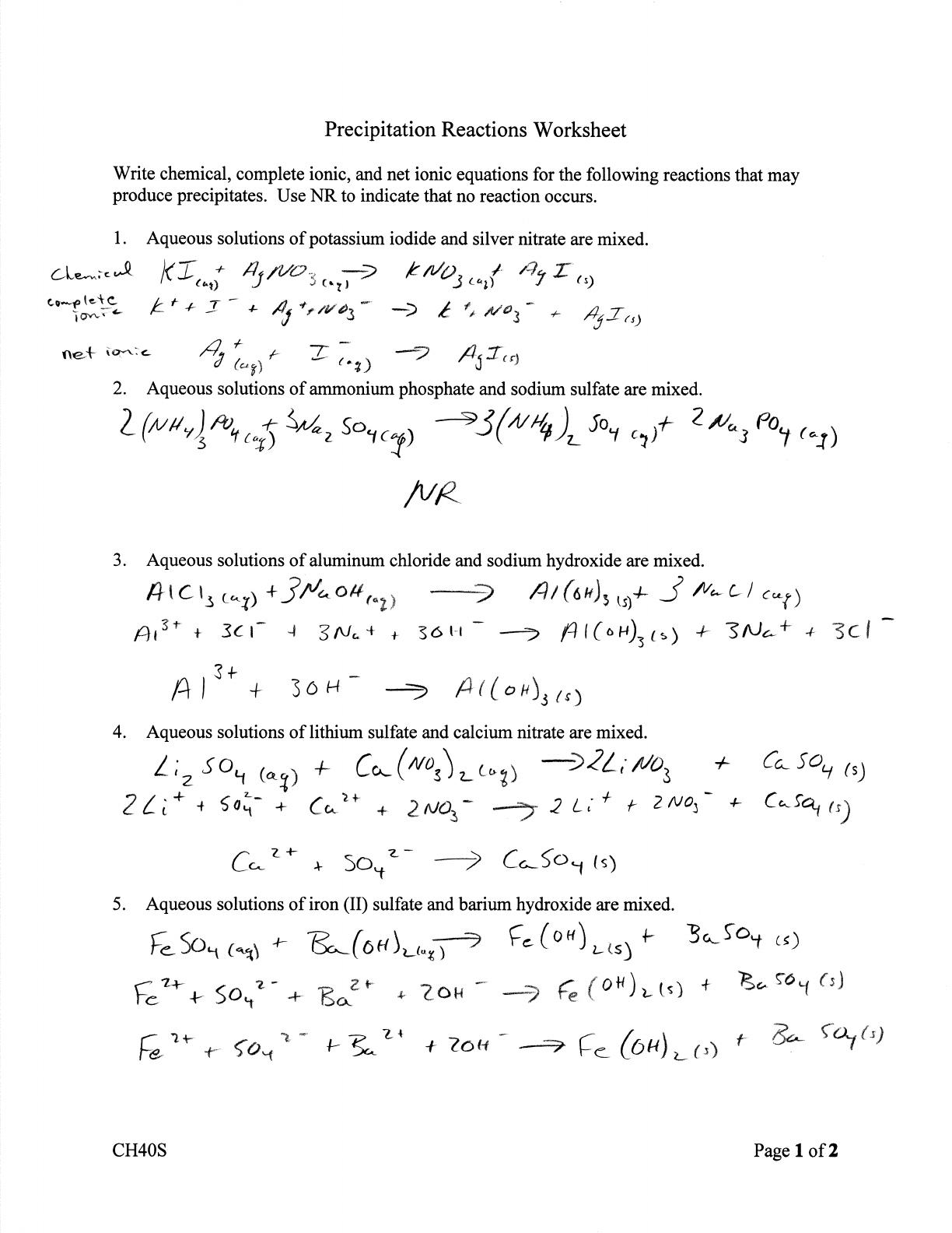 Precipitation Reactions Worksheet Pc Reactions Worksheet
